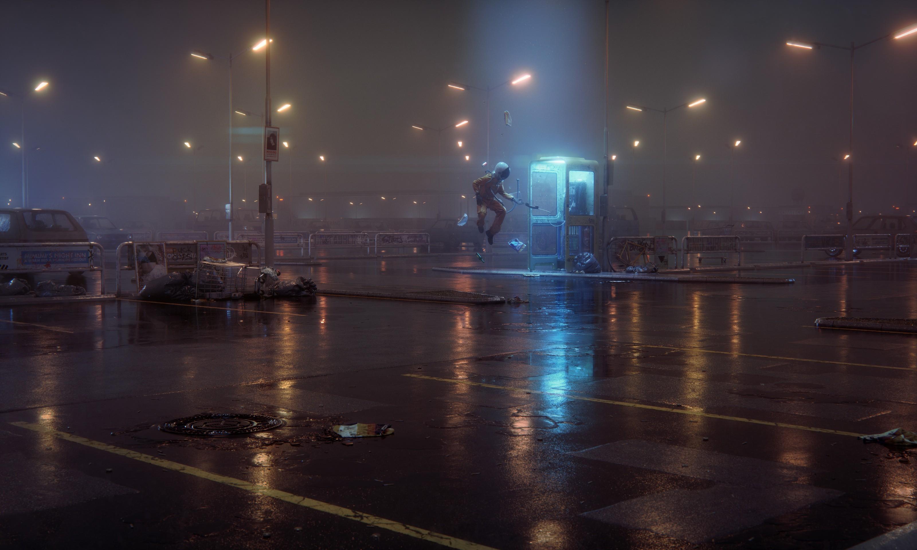 General 3200x1920 digital art night parking lot lights dark blue light phone box wet street trash mist floating street light astronaut