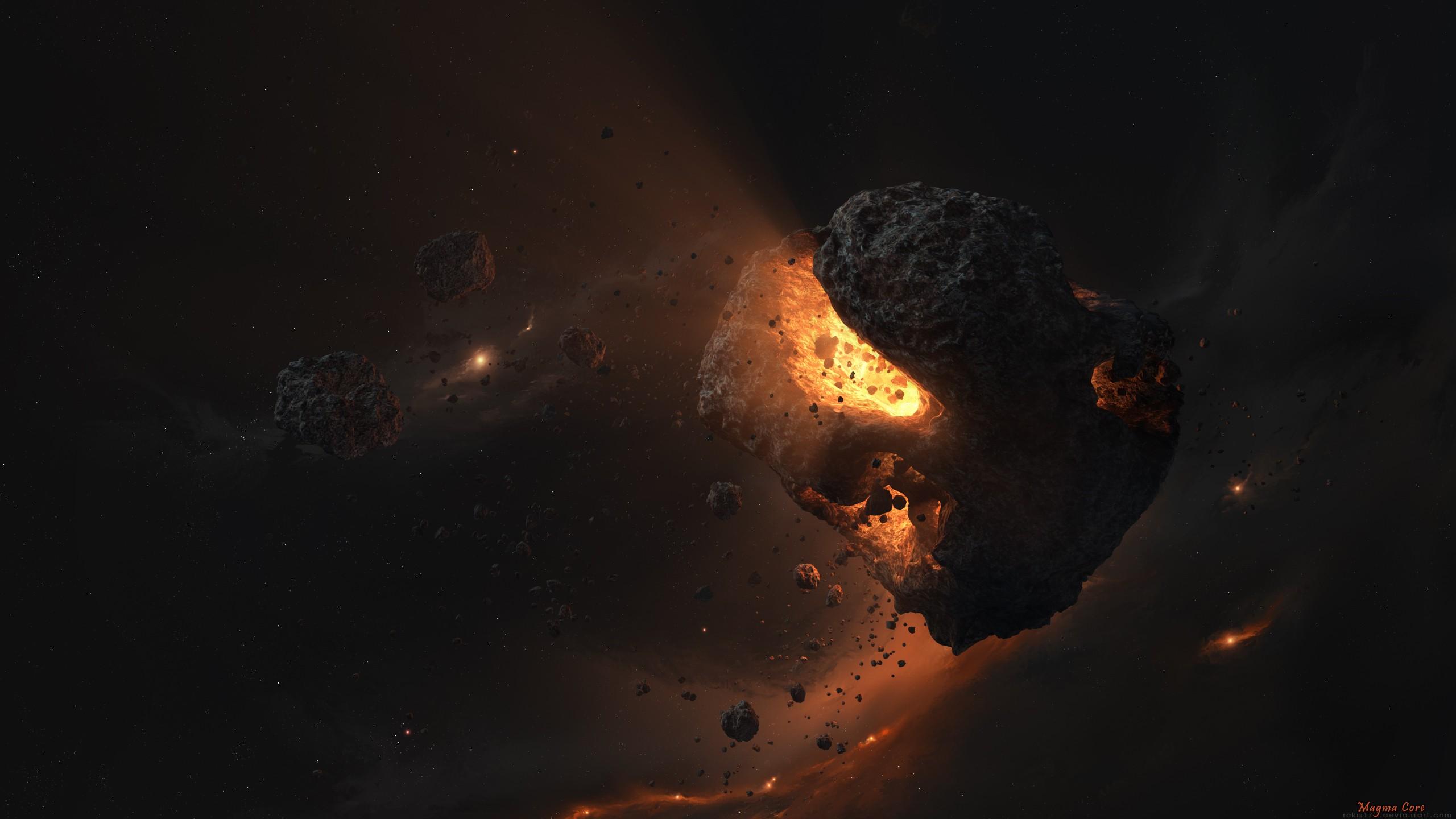 General 2560x1440 fantasy art digital art artwork science fiction planet asteroid lights