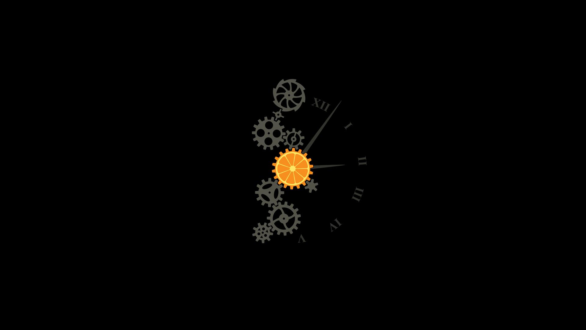General 1920x1080 minimalism simple background A Clockwork Orange simple gears clocks selective coloring black background