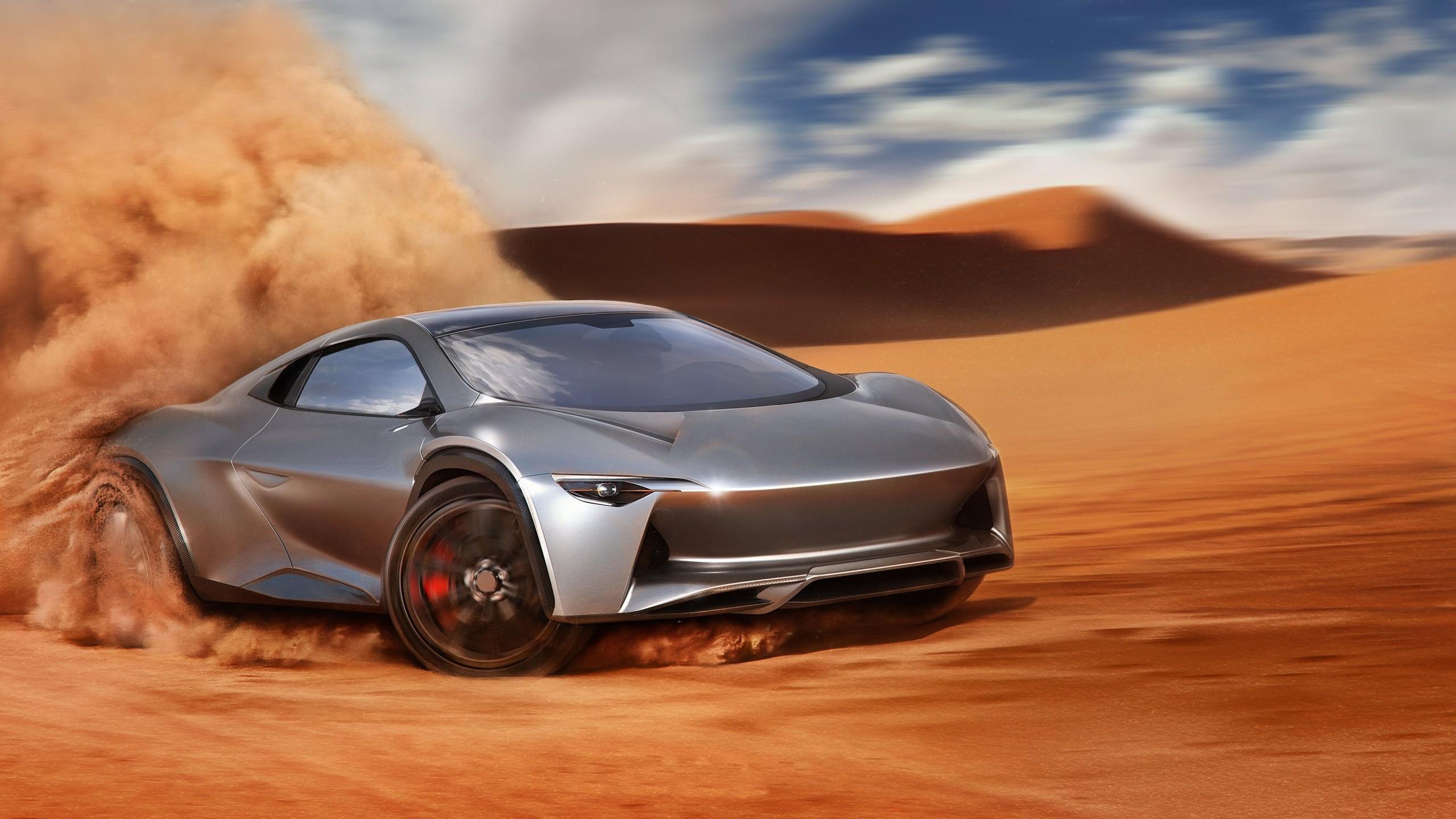General 2560x1440 car supercars desert sand vehicle silver cars