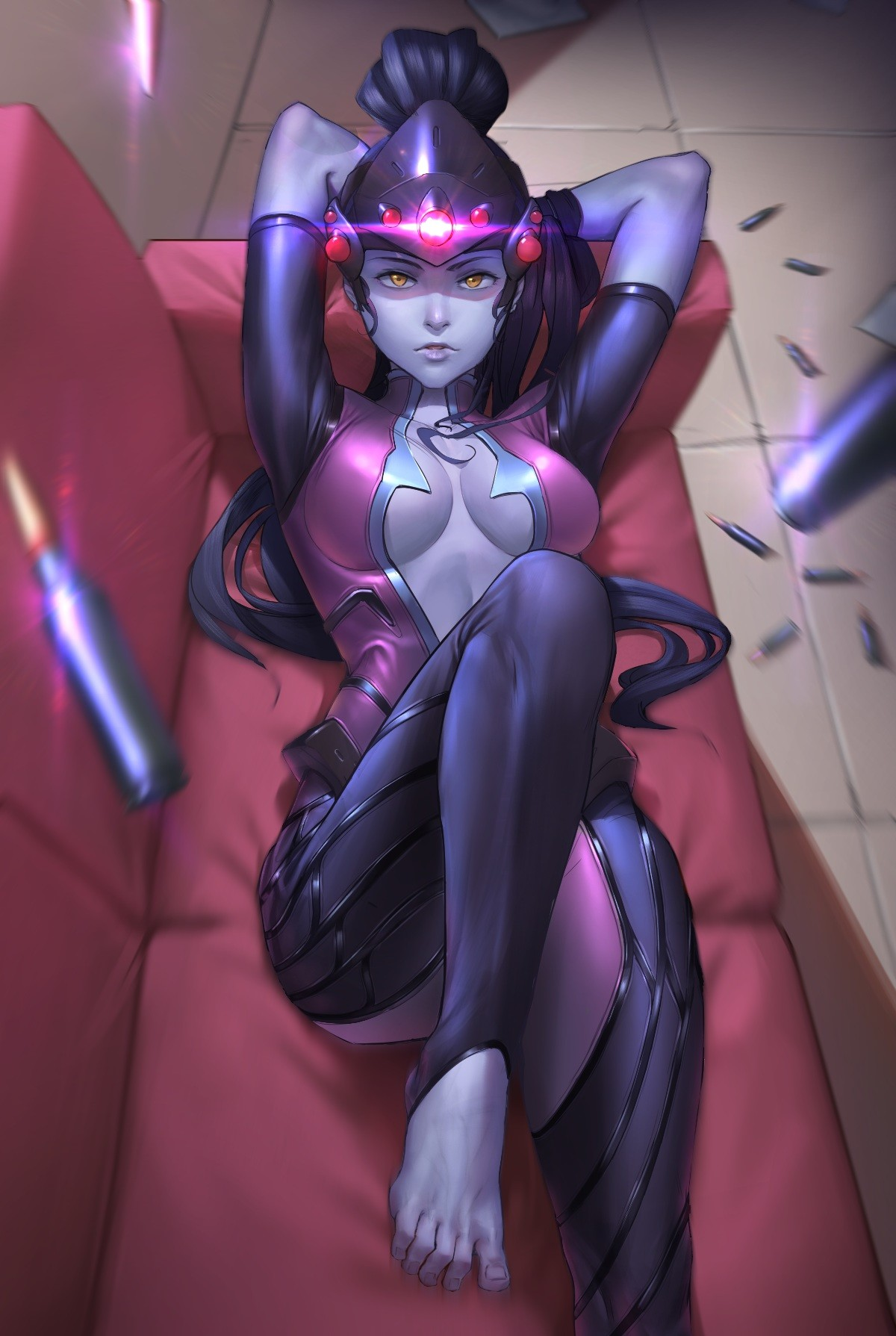 Anime 1200x1789 anime girls Overwatch bodysuit cleavage feet no bra video games Blizzard Entertainment artwork digital art missing sock