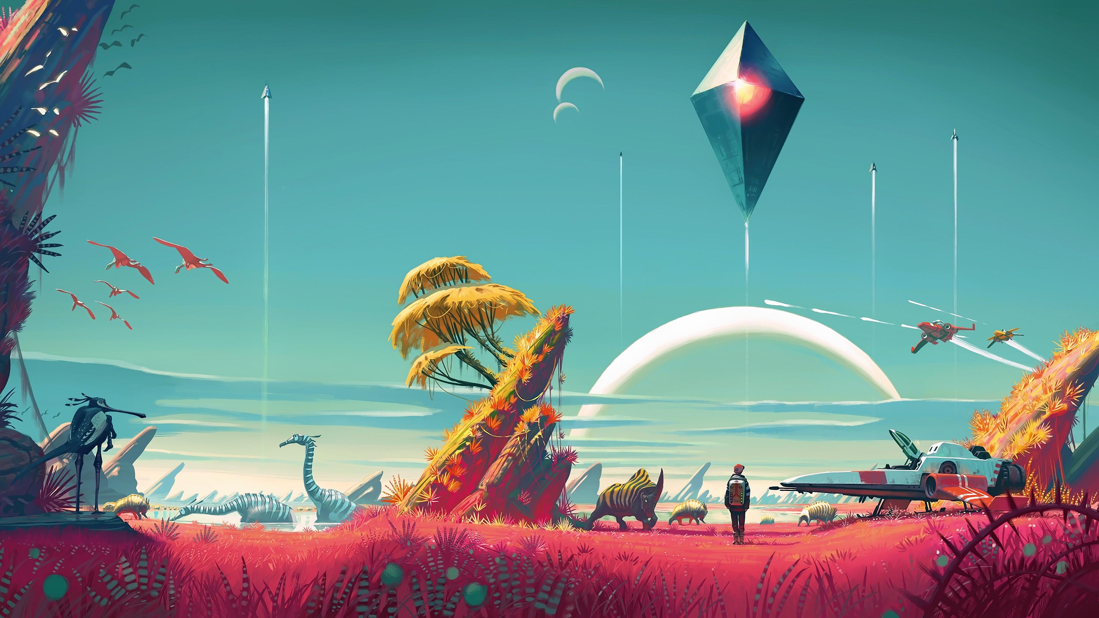 General 3840x2160 No Man's Sky video game art planet video games