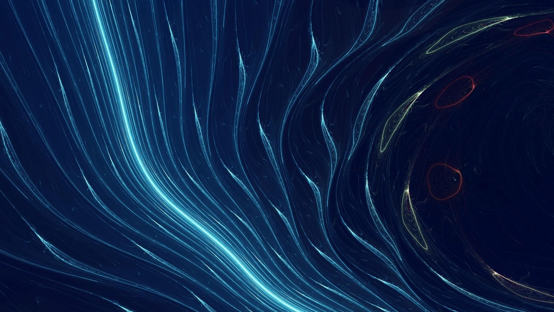 General 1920x1080 digital art abstract lines blue background neon smoke cyan