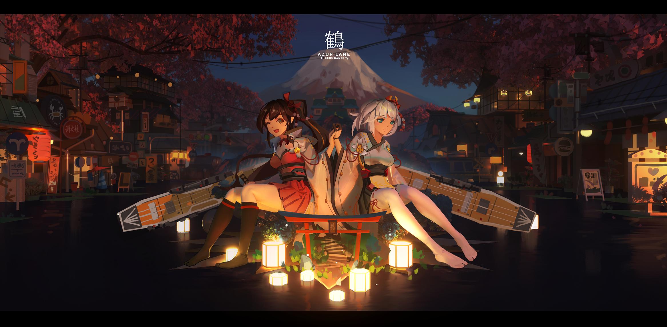 Anime 2333x1143 T5 anime girls Azur Lane zuikaku (Azur Lane) Shoukaku (Azur Lane)