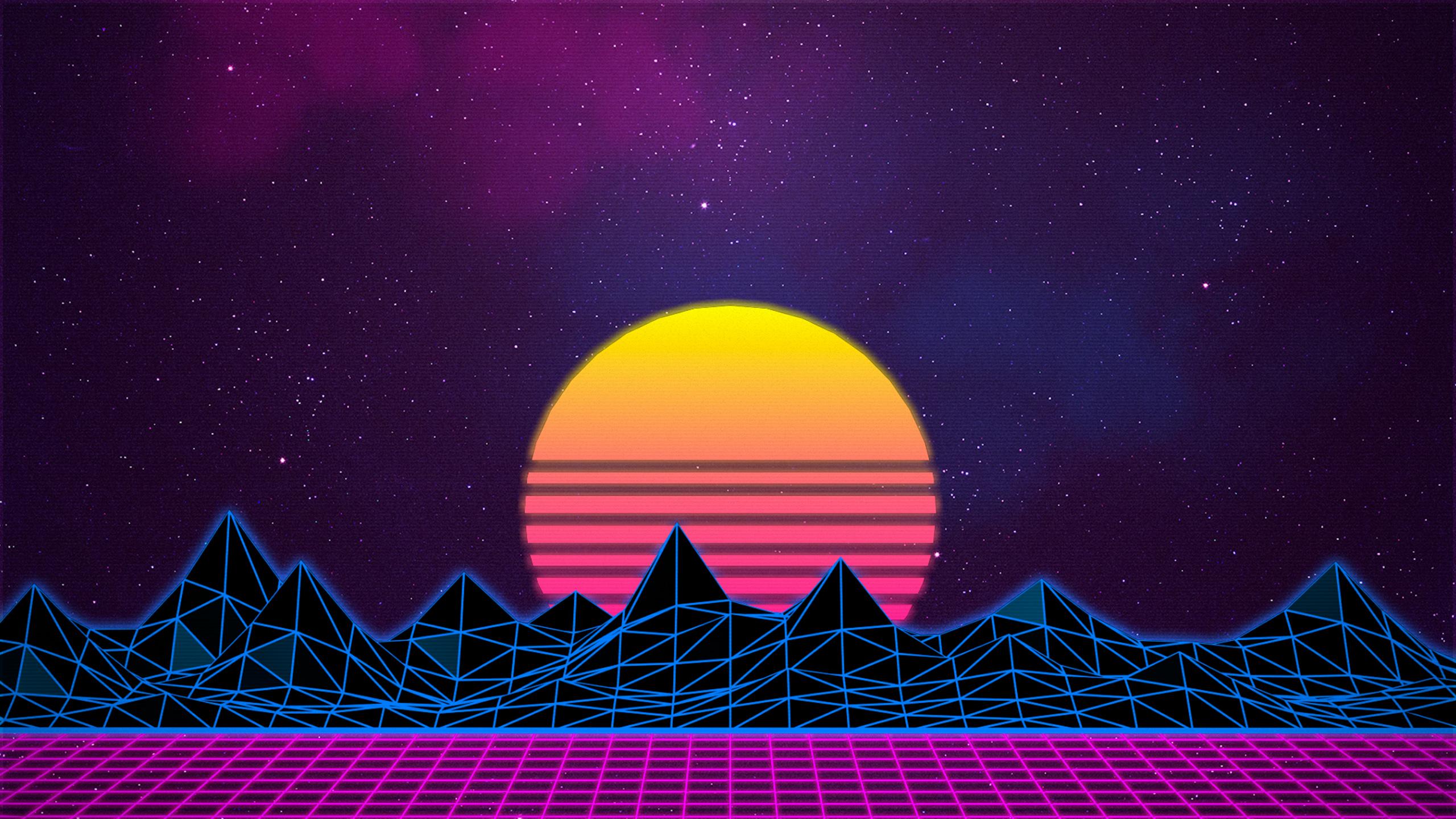 General 2560x1440 retrowave Retrowave purple purple background pink vaporwave abstract stars