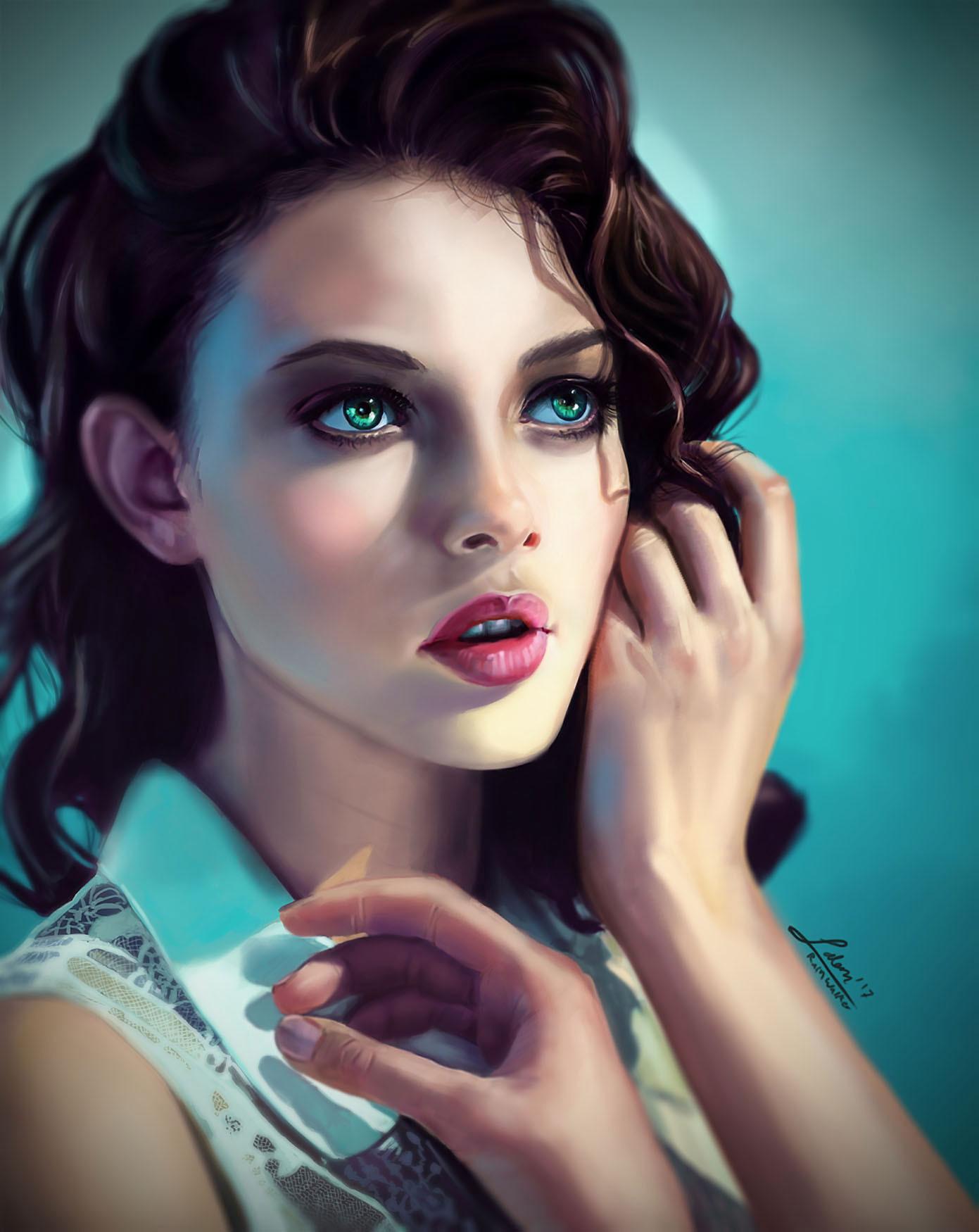 General 1391x1750 digital art artwork women portrait display portrait model green eyes brunette looking into the distance cyan