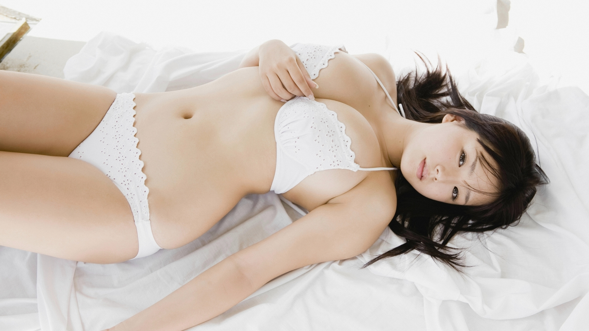 People 1920x1080 white panties Ai Shinozaki curvy Asian brunette white bikini lingerie cleavage panties bra lying on back big boobs
