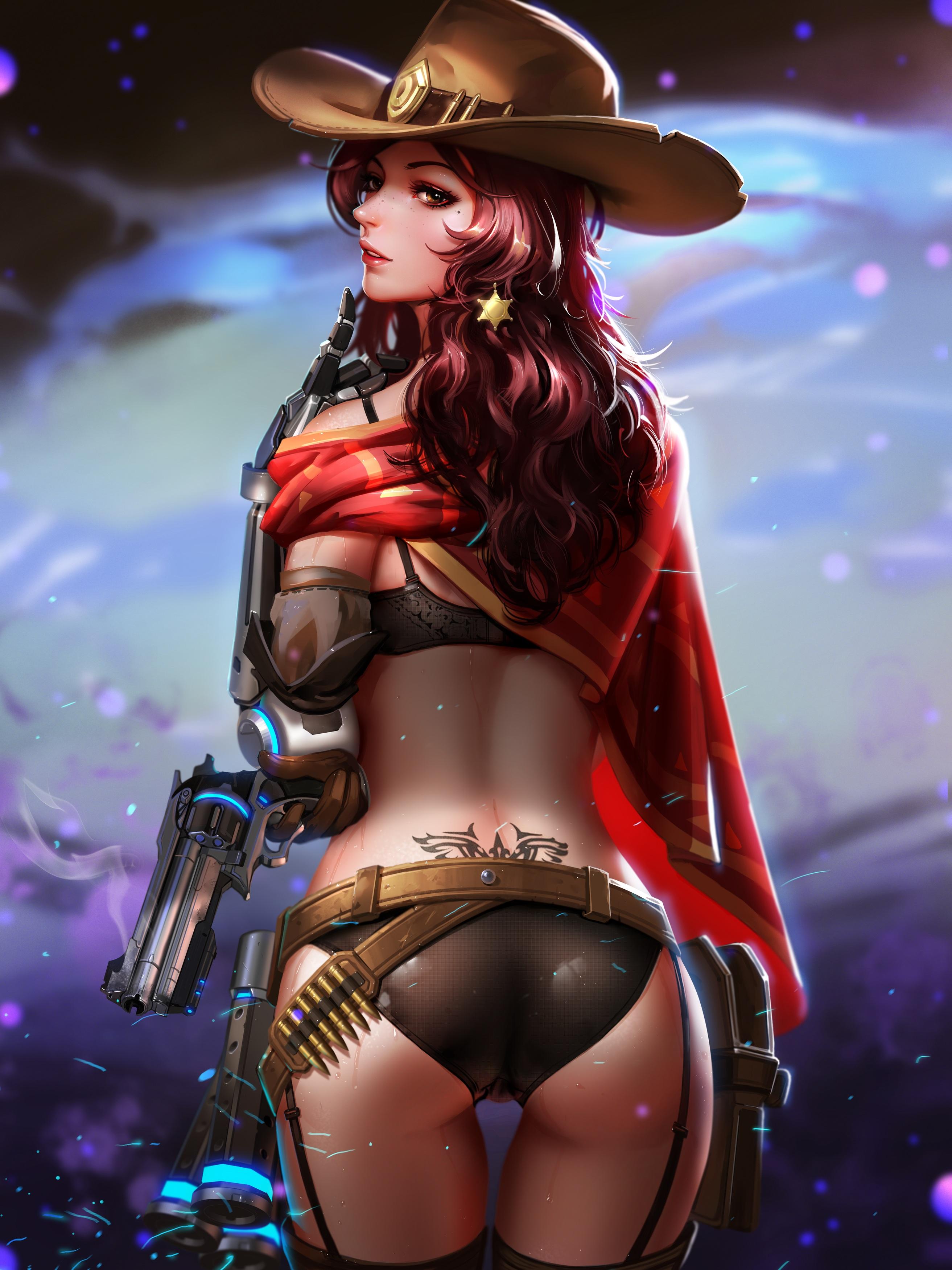 Anime 2625x3500 ass Liang-Xing dress bra genderswap gun Mc Cree Overwatch stockings tattoo thigh-highs realistic the gap
