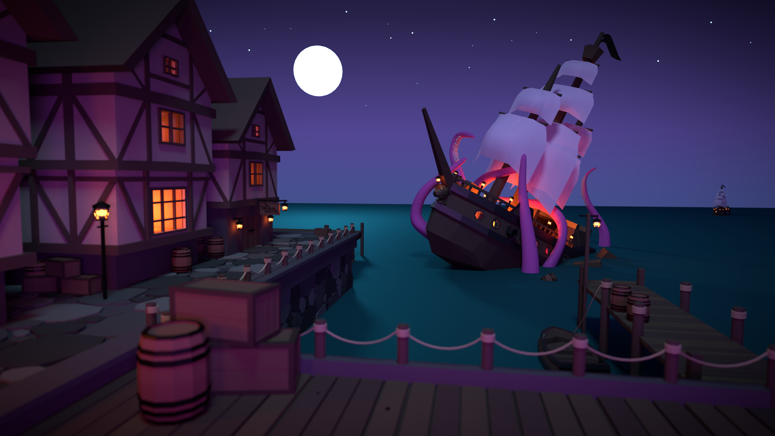 General 2560x1440 digital art ship sea sailing ship sea monsters tentacles octopus night pier house Moon stars lights Kraken