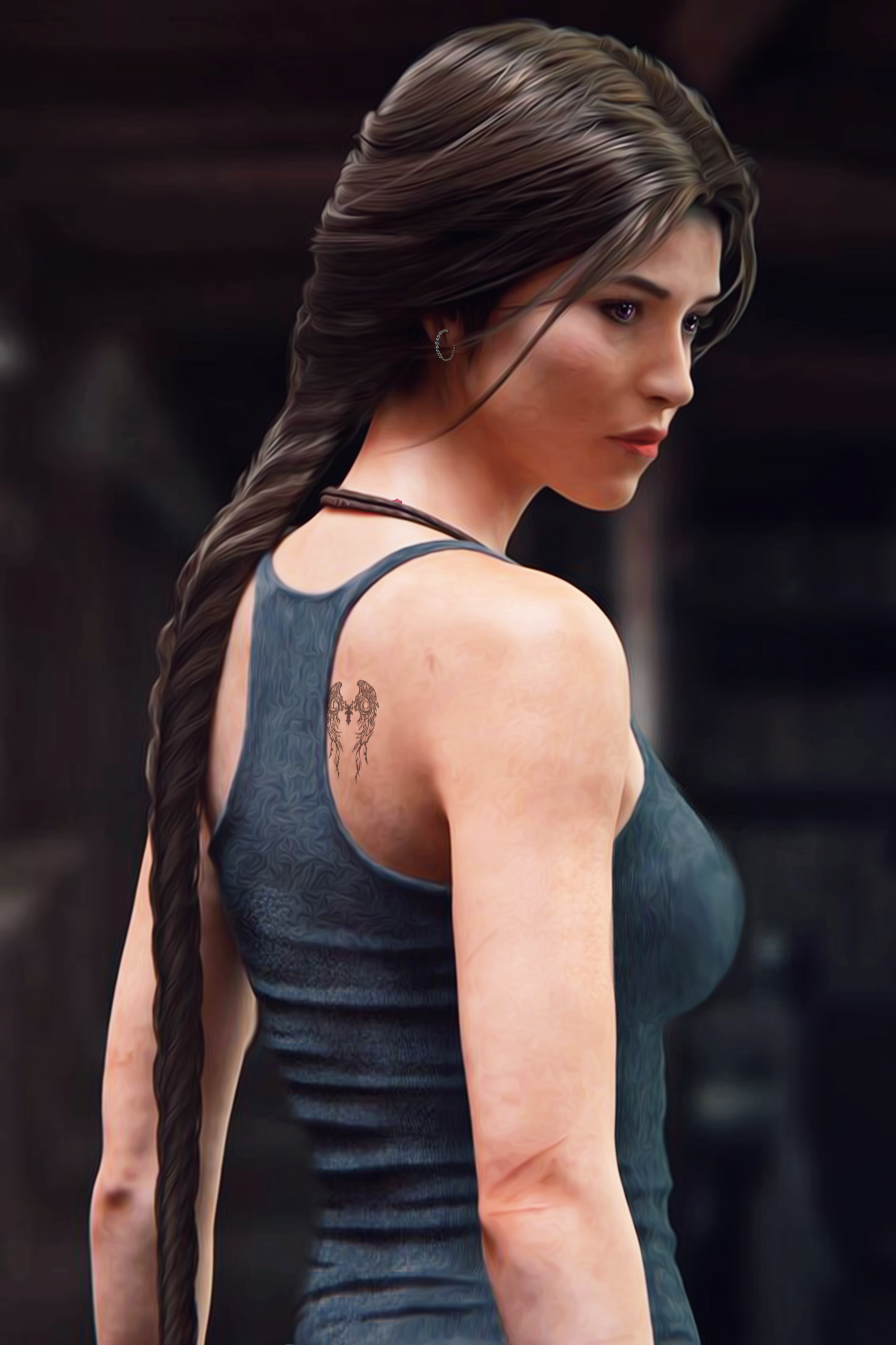 General 3400x5100 Lara Croft tattoo skinny long hair purple eyes Tomb Raider Shadow of the Tomb Raider