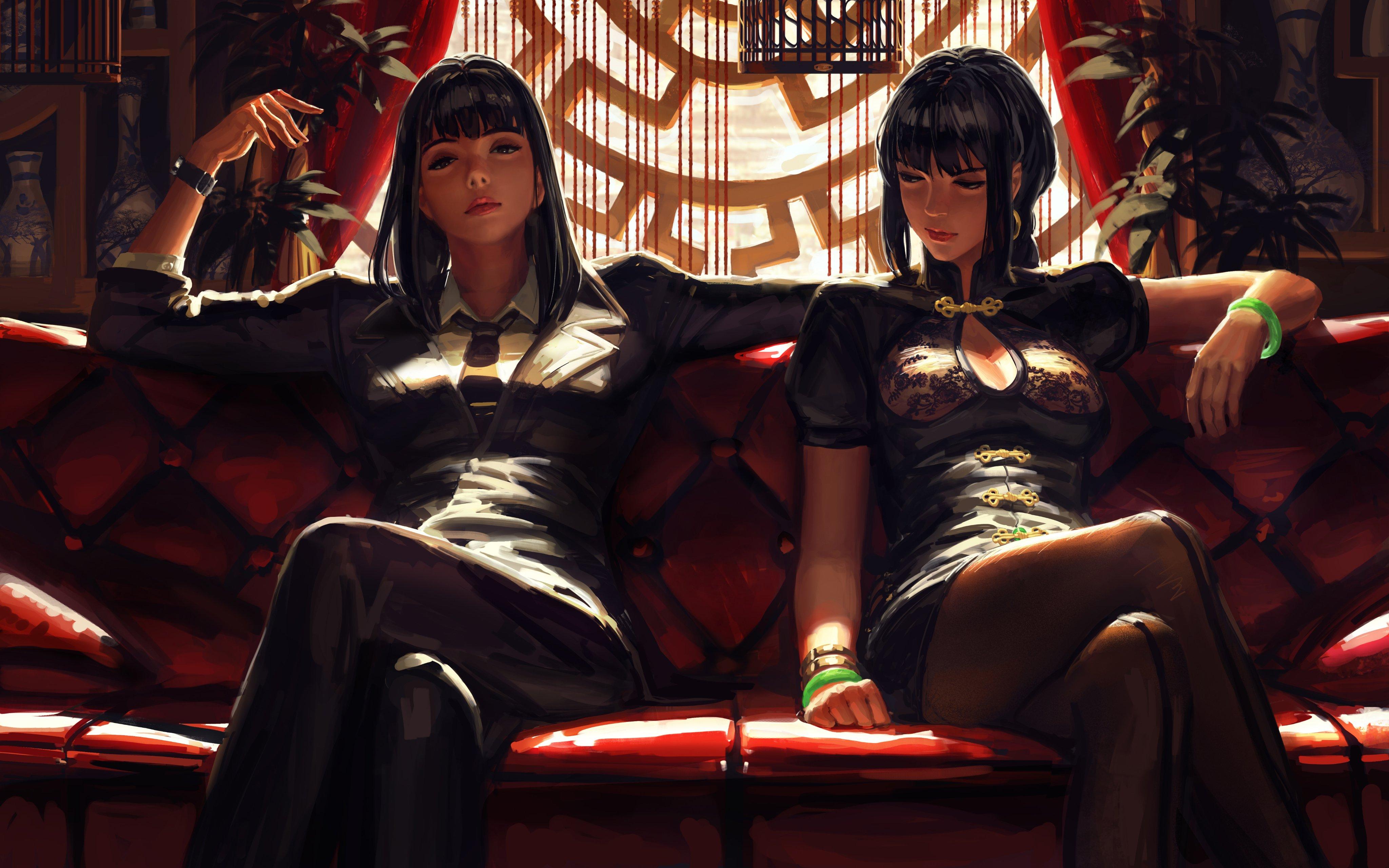 General 4096x2561 GUWEIZ original characters artwork digital art black hair long hair legs crossed anime anime girls two women sitting 2D cleavage Chinese dress pantyhose looking at viewer frontal view