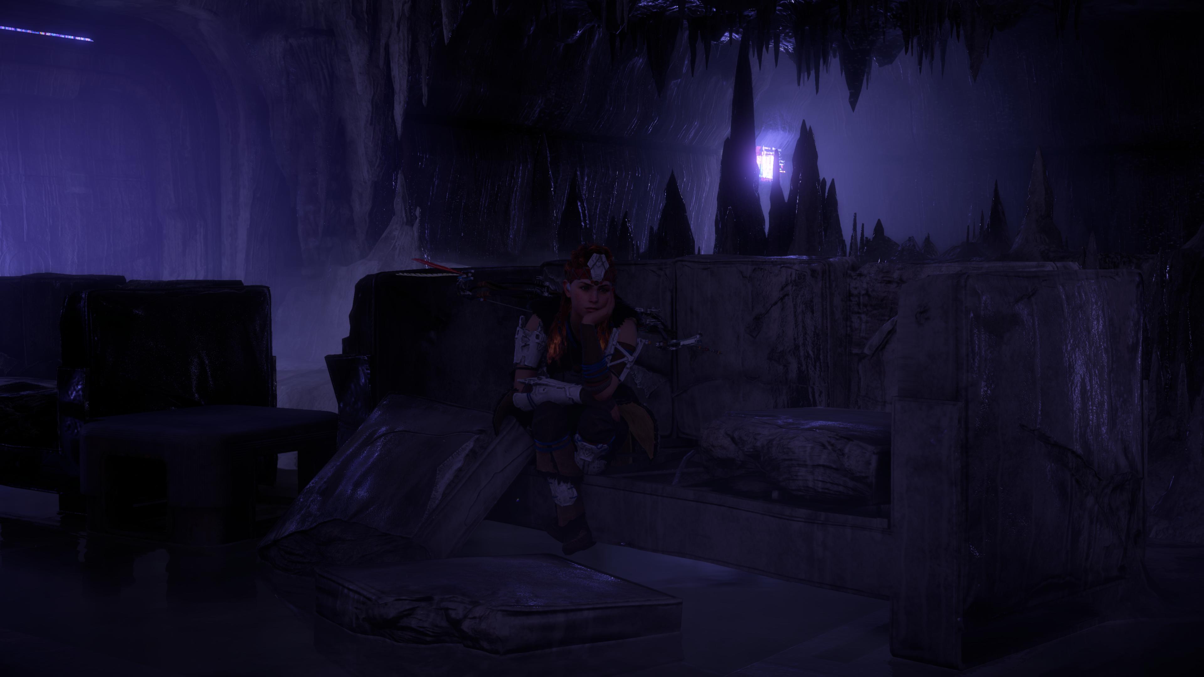 General 3840x2160 horizon zero dawn  Horizon: Zero Dawn Aloy (Horizon: Zero Dawn) sitting cave vault bunker coach dark 4K video games video game characters