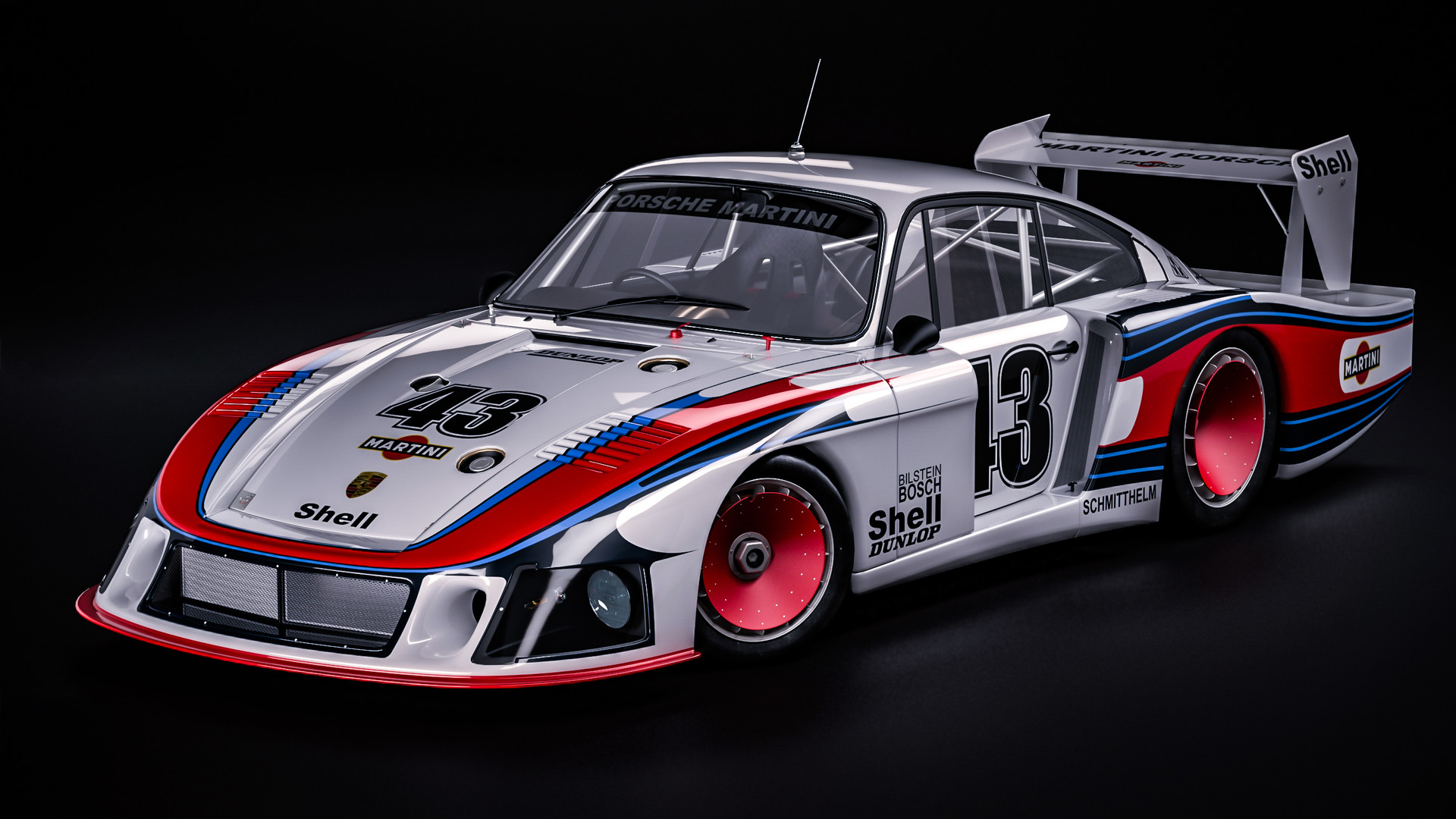 General 1920x1080 Porsche German cars car vehicle sports car digital art Porsche 935 Moby Dick race cars Martini