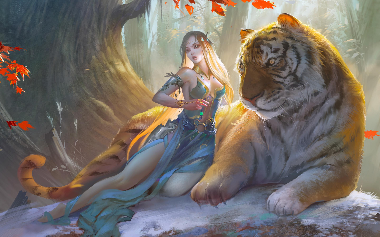 General 2880x1800 artwork fantasy art fantasy girl women animals tiger big cats blonde long hair dress