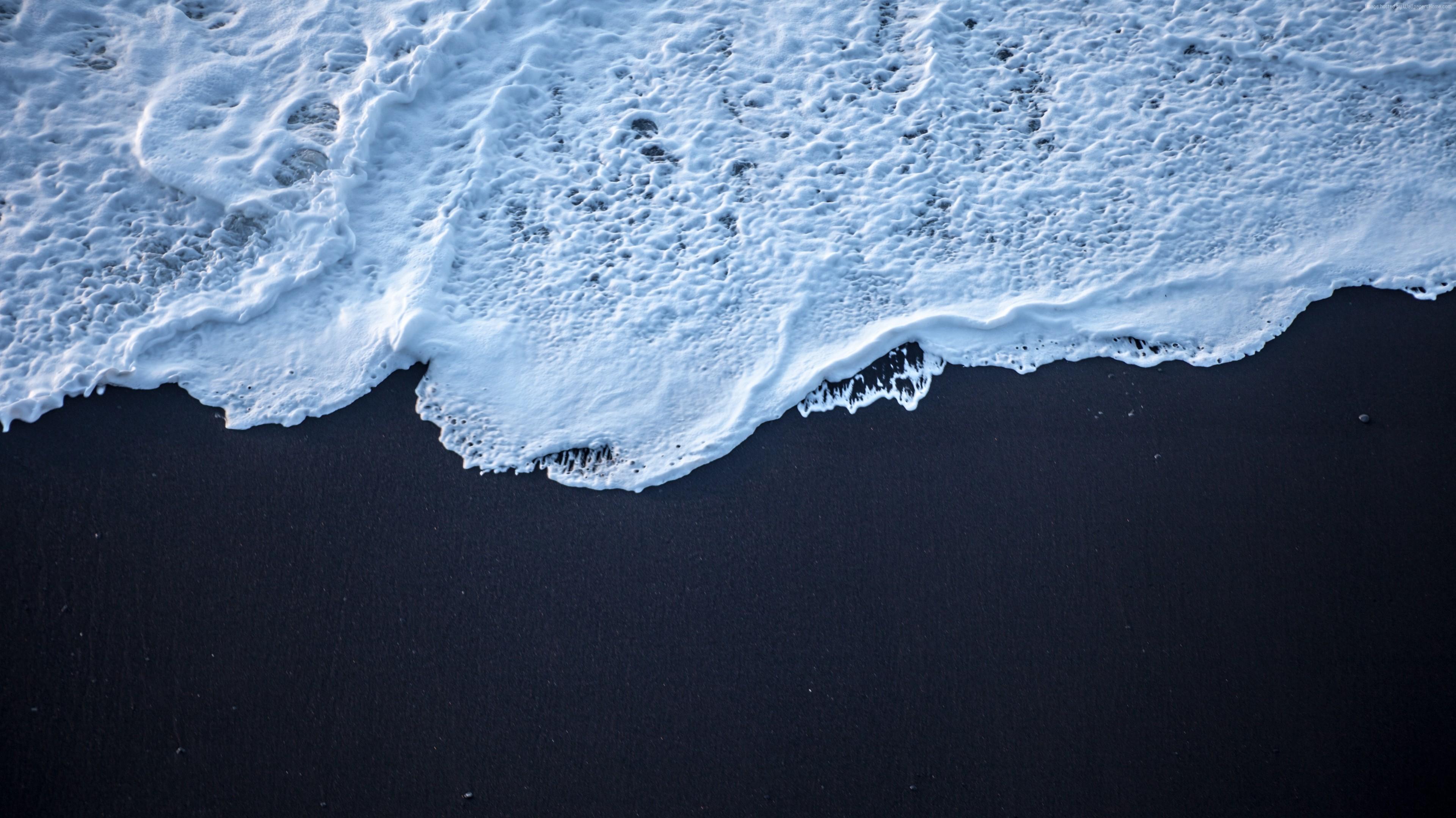 General 3840x2160 nature water sea foam white sand black sand