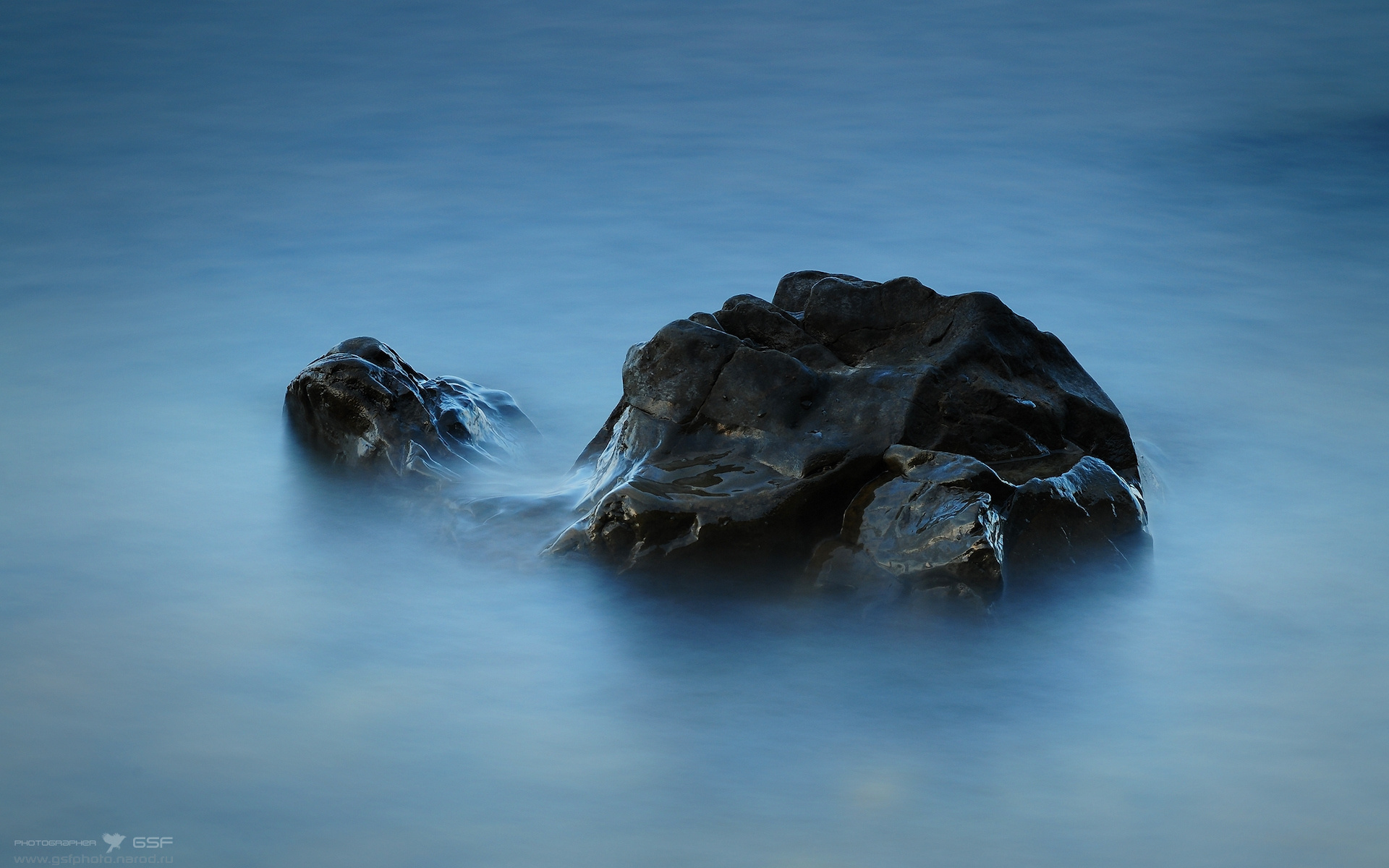 General 1920x1200 nature wet rocks water blue