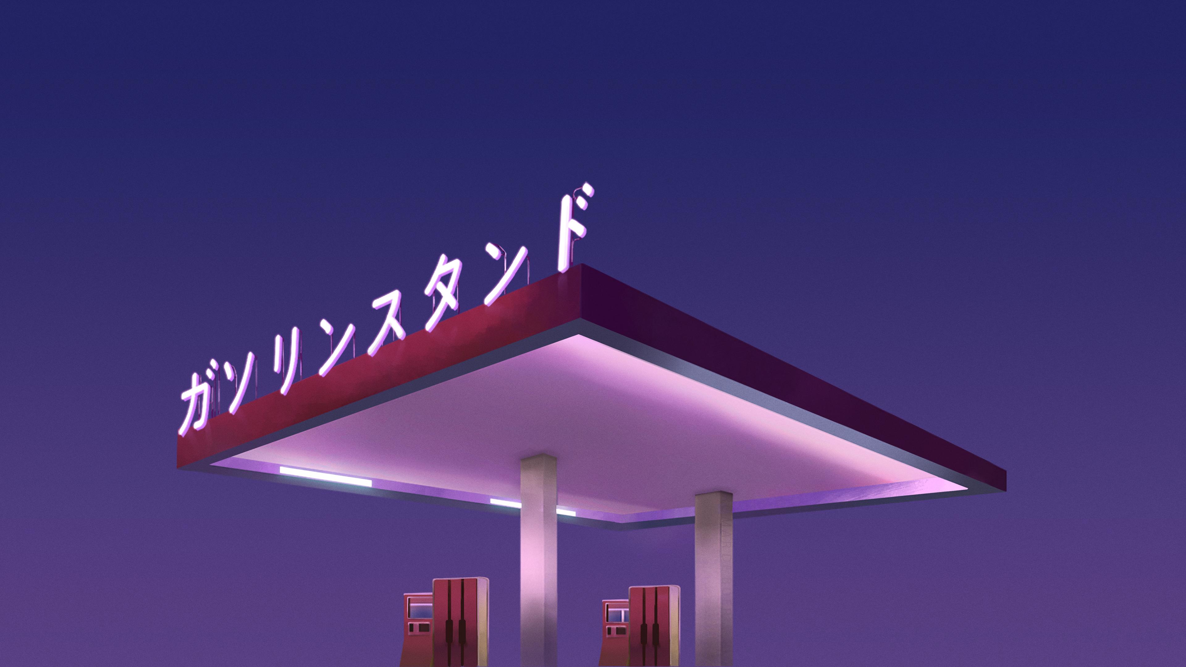 General 3840x2160 digital art Gas station Japan blue vaporwave