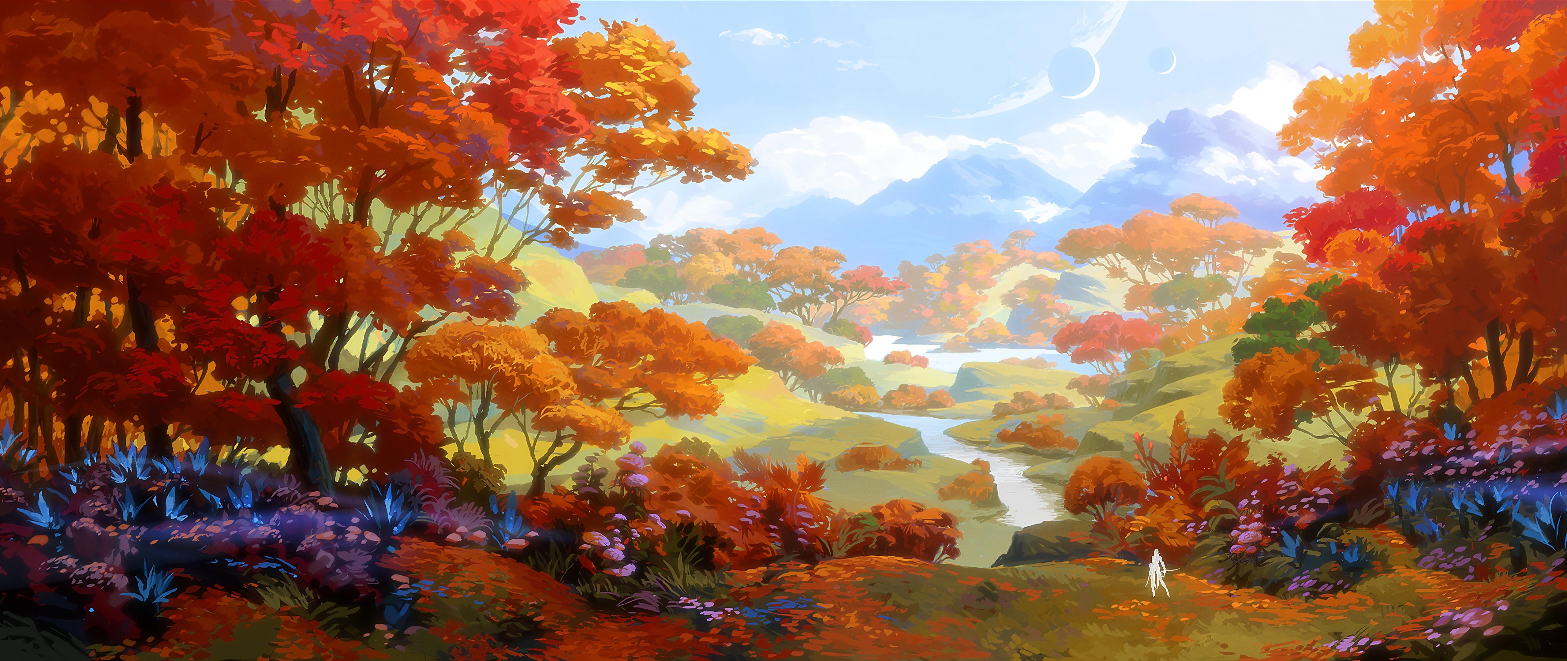 General 5120x2160 digital digital art artwork illustration drawing digital painting environment nature seasons fall landscape trees forest fantasy art planet water mountains clouds sky skyscape concept art outdoors