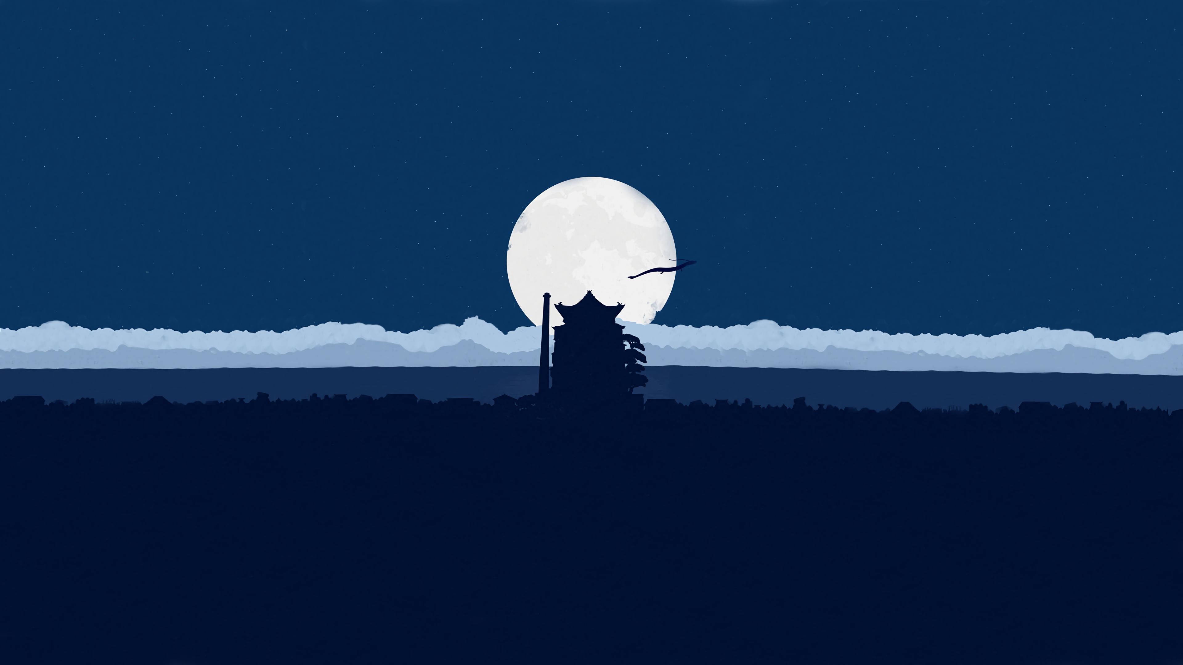Anime 3840x2160 minimalism blue clear sky Spirited Away sen to chihiro shadow clouds anime fan art moonlight simple