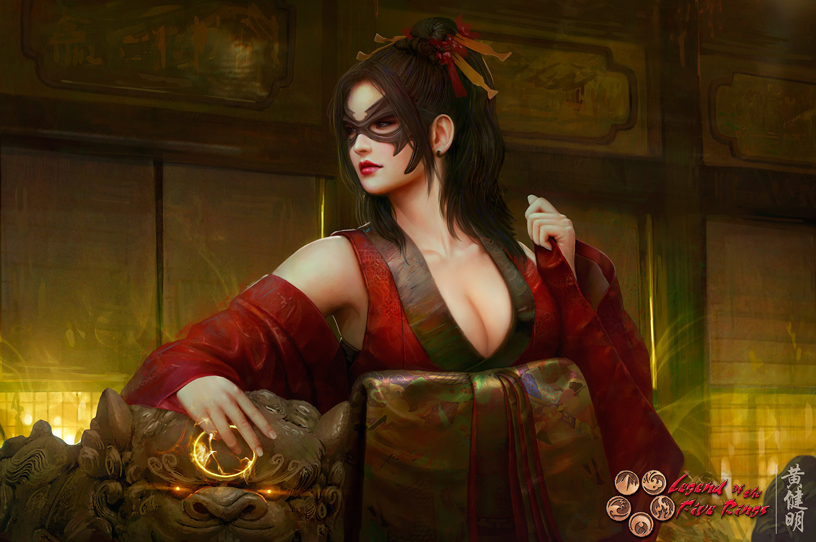General 1600x1063 artwork women Asian Japan geisha mask costumes culture painting digital art Mario Wibisono cleavage fan art samurai warrior fantasy art video games Legend of the Five Rings