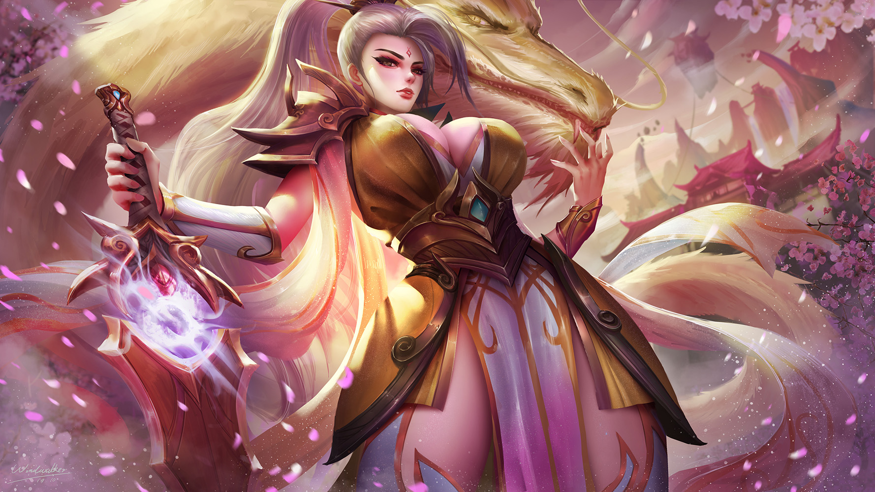General 1778x1000 Riven (League of Legends) League of Legends video games video game characters fantasy girl white hair ponytail cleavage dress armor sword weapon dragon cherry blossom depth of field fantasy art video game girls artwork drawing digital art fan art Windwalker Pixiv petals big boobs
