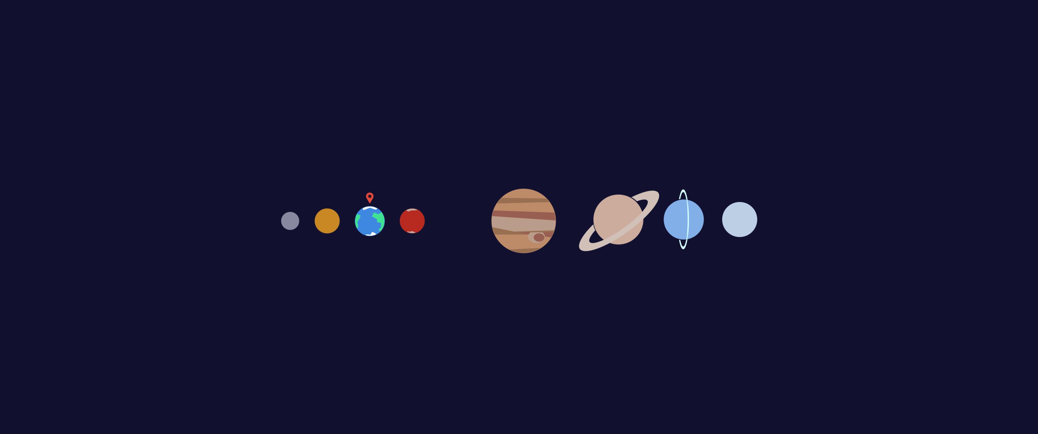 General 3440x1440 Solar System planet Earth Saturn Uranus Neptune Mars Venus Jupiter Mercury digital art space