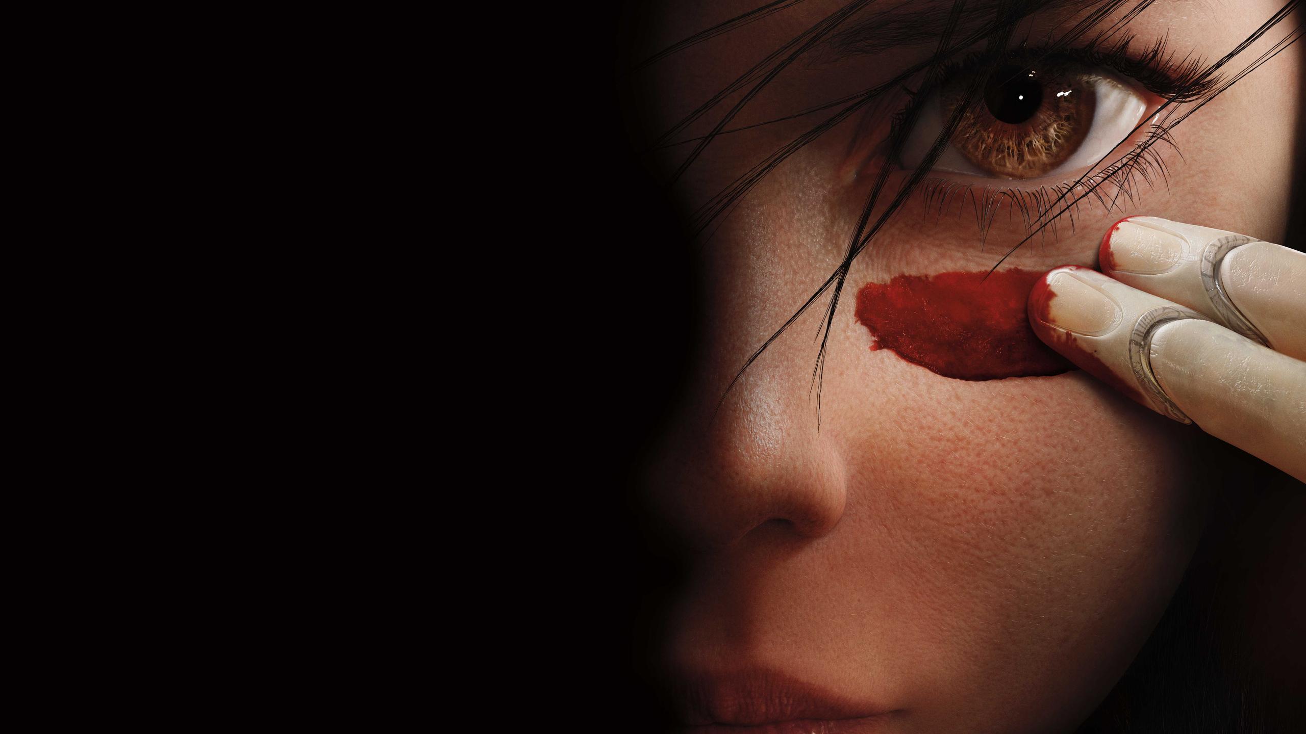 General 2560x1440 black background Alita: Battle Angel brown eyes movies Alita fingers looking at viewer women