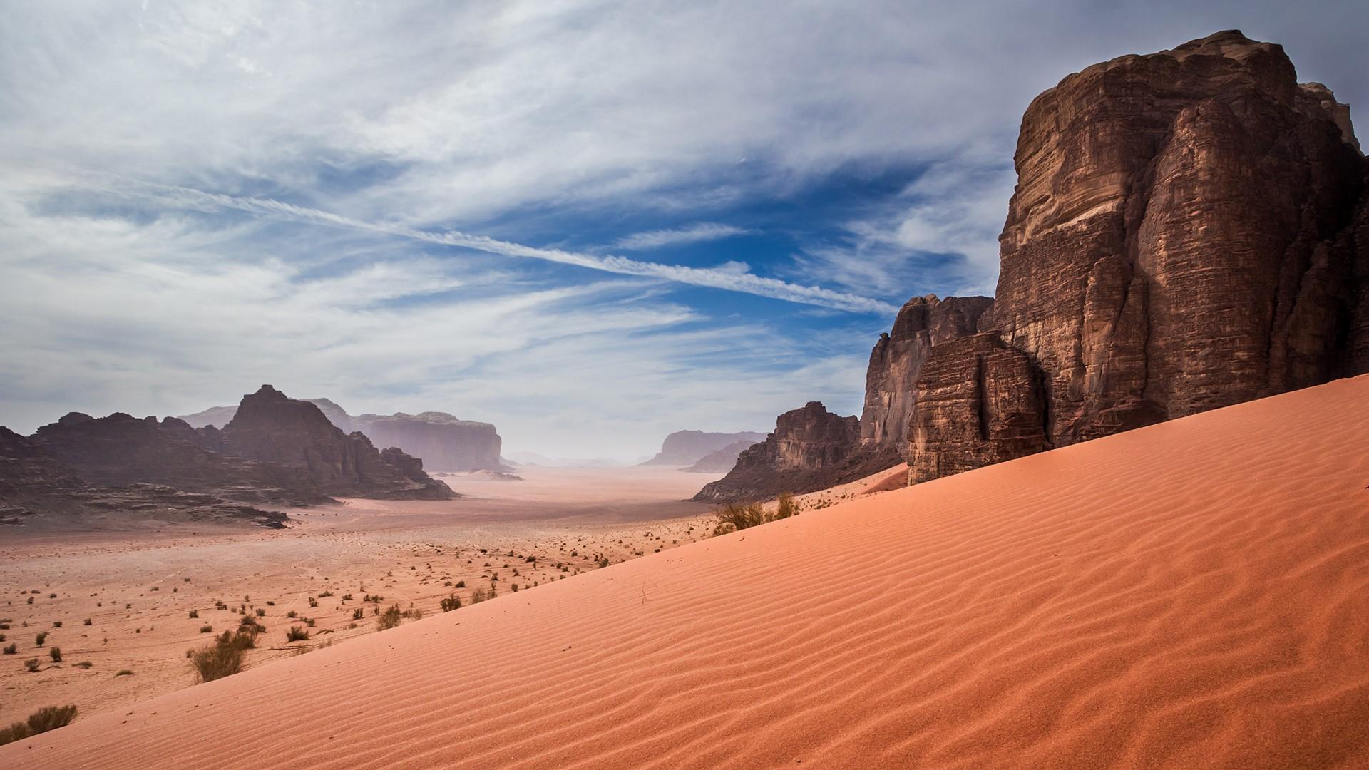 General 1920x1080 nature landscape sand desert dunes Wadi Rum Jordan (country) clouds plants rocks mountains