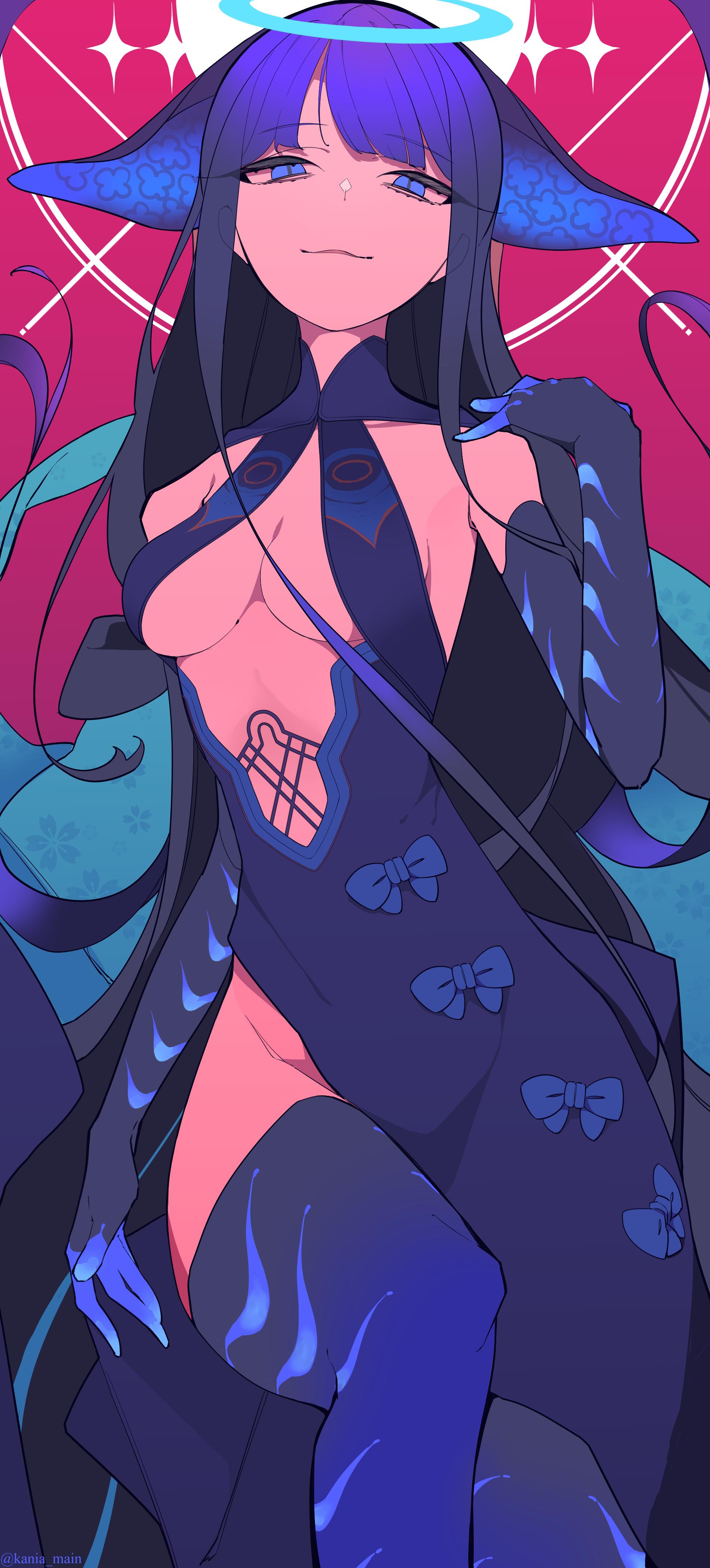 Anime 1900x4200 anime anime girls digital art artwork 2D portrait display vertical boobs blue eyes purple hair Chinese dress no bra cleavage Yang guifei Fate Series Fate/Grand Order Kania