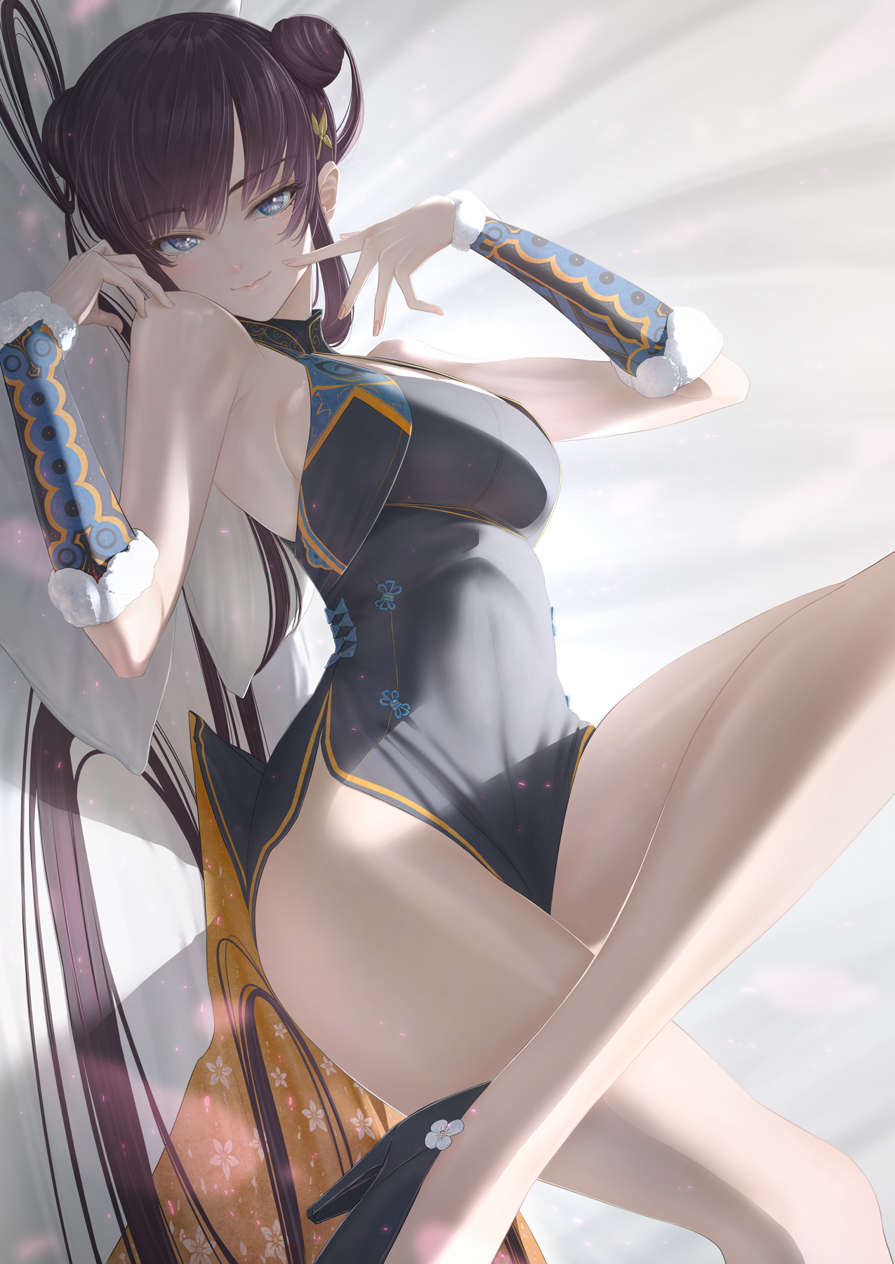 Anime 1275x1800 anime anime girls digital art artwork 2D portrait display vertical simple background long hair blue eyes black hair legs smiling