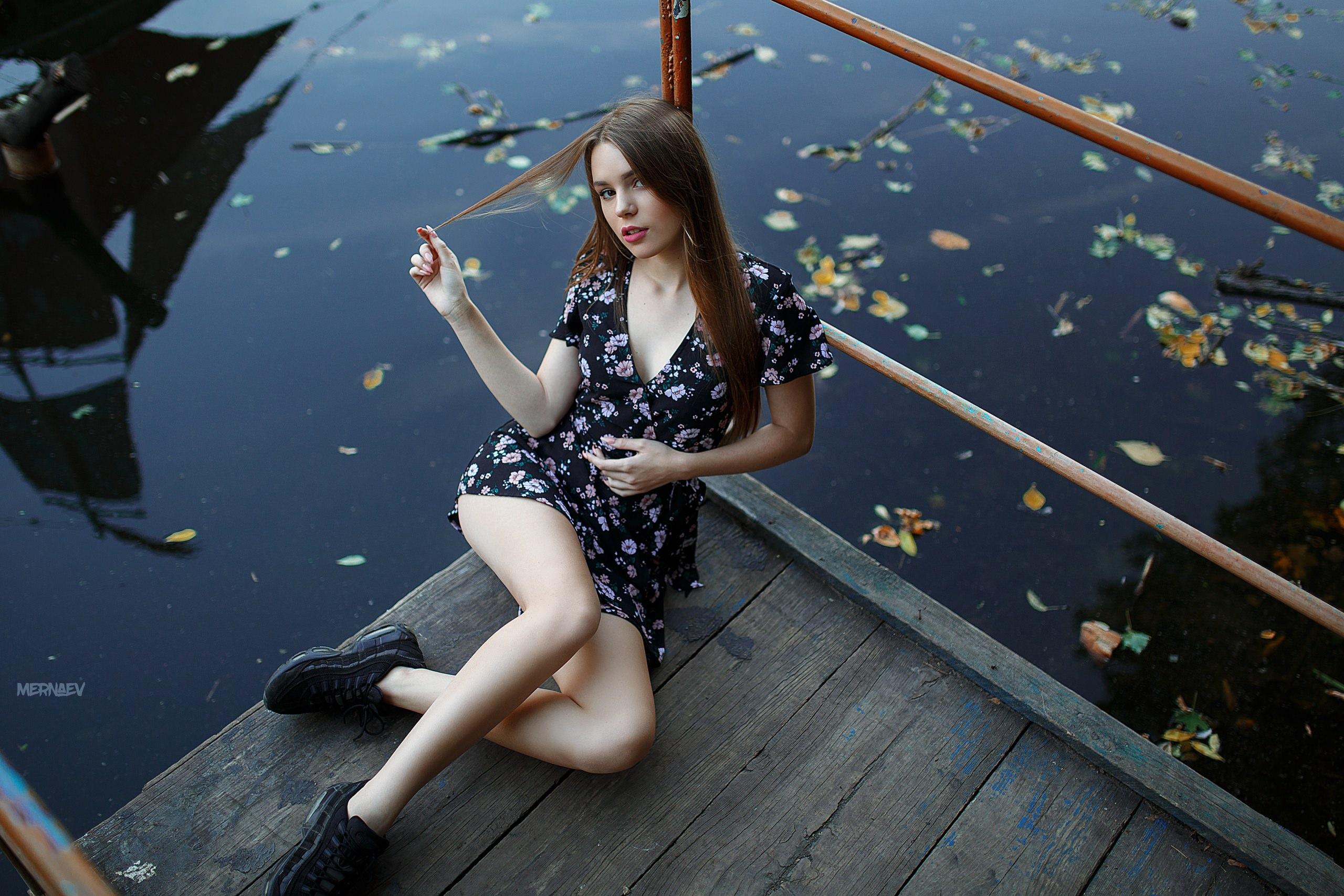 People 2560x1707 women sitting dress sneakers pier Artyom Mernaev water leaves women outdoors looking up summer  dress black boots red lipstick high angle brunette