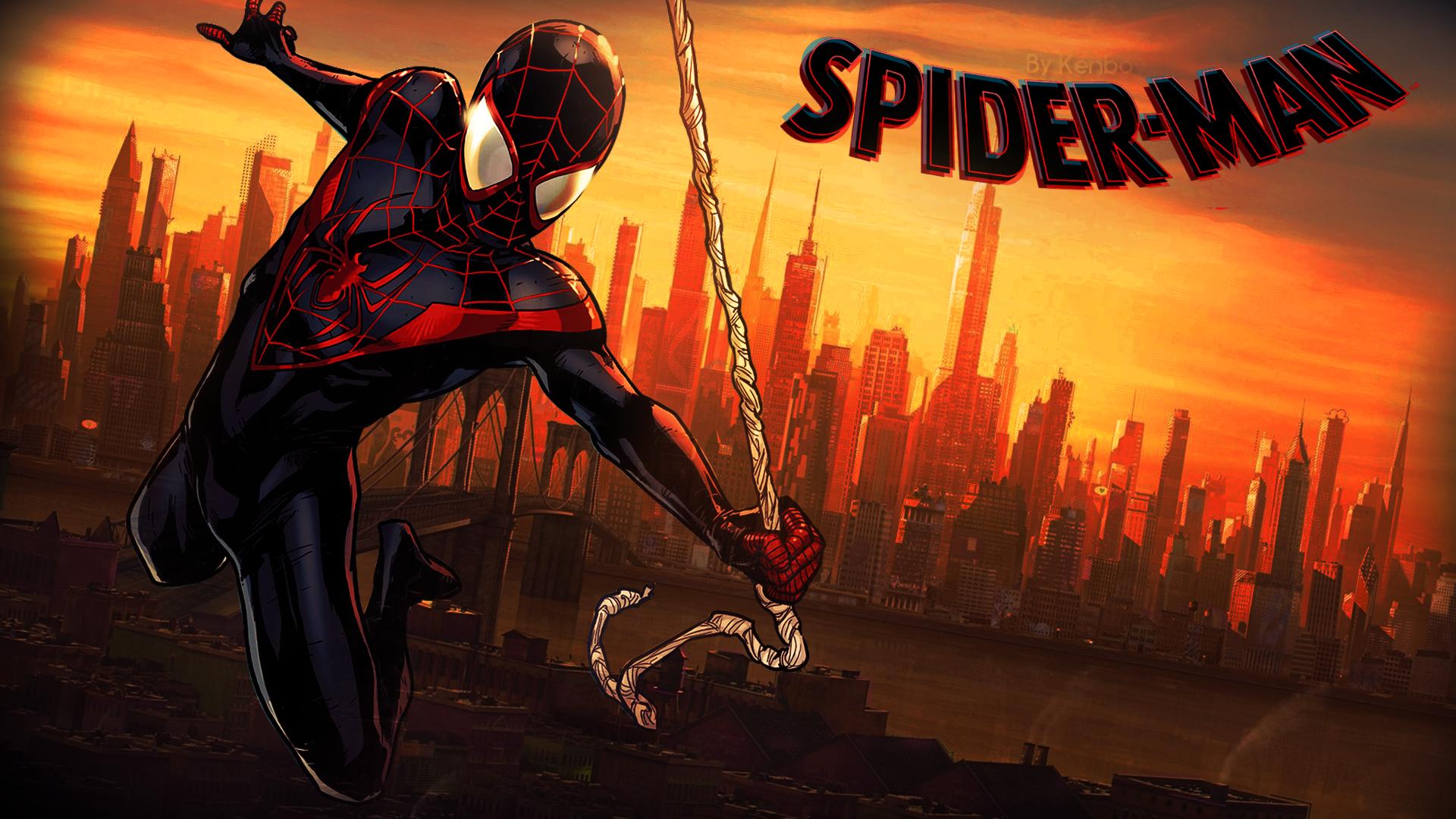 General 1920x1080 spider Spider-Man Black suited Spiderman Marvel Comics comics Miles Morales Spider-Man: Into the Spider-Verse animated movies movies comic books superhero