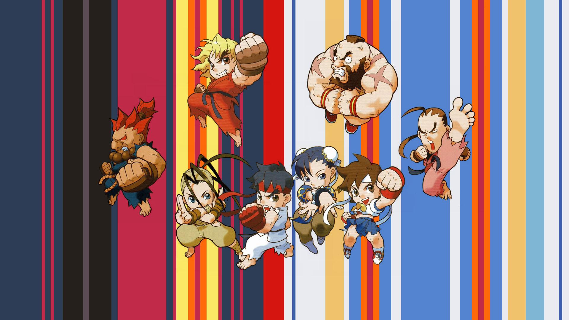 Anime 1920x1080 Street Fighter game art Ryu (Street Fighter) sakura (street fighter) Dan (Street Fighter) Ibuki (Street Fighter) Akuma Ken (Street Fighter) Zangief(street fighter) Puzzle Fighter chibi picture-in-picture video game art video game girls video game man video game warriors video games Chun-Li