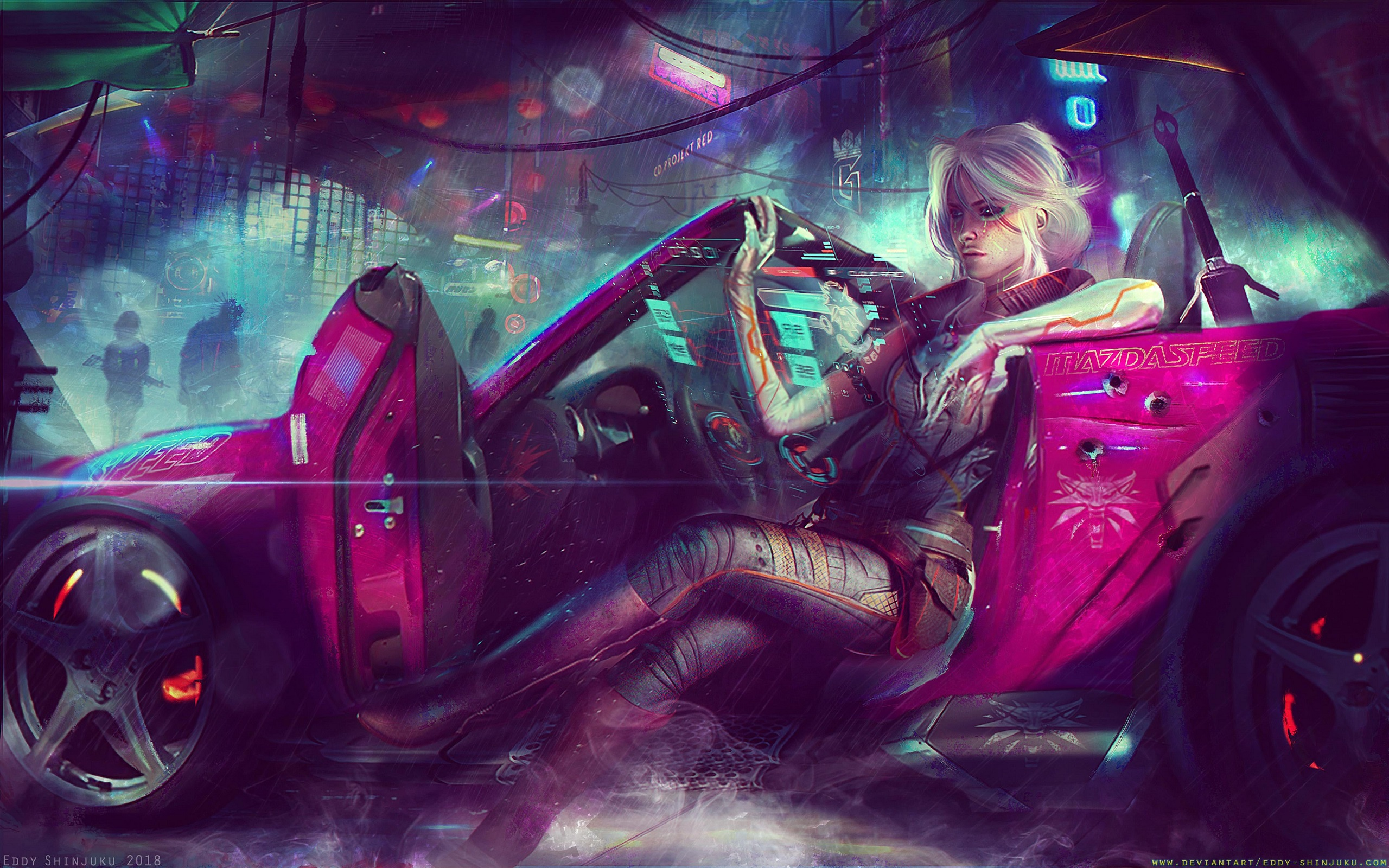 General 2560x1600 Ciri The Witcher women artwork futuristic digital art crossover car mazdaspeed Mazda MX-5  Cyberpunk 2077 cyberpunk