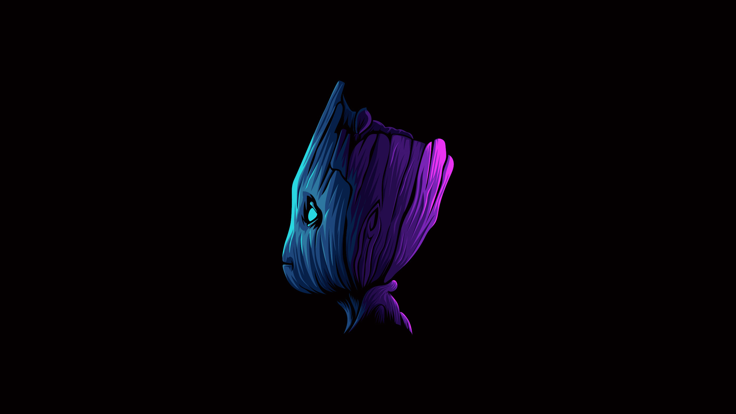 General 2560x1440 digital digital art artwork illustration simple simple background minimalism black colorful Marvel Comics Marvel Cinematic Universe superhero Groot Baby Groot Guardians of the Galaxy fictional fictional character character design  black background Vectto