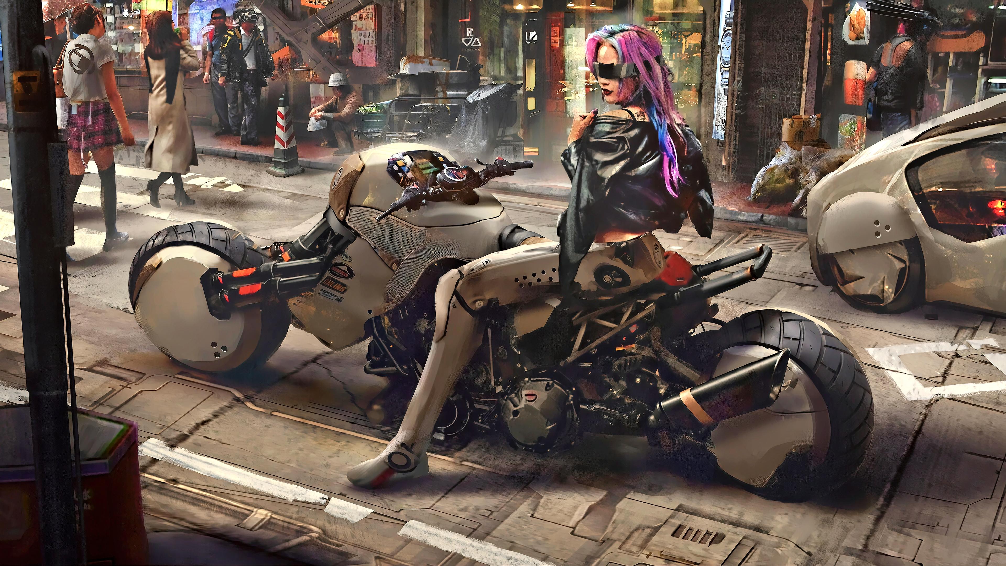 General 3840x2160 cityscape science fiction digital art concept art artwork futuristic fantasy art fan art 3D CGI cyberpunk cyber city women vehicle cyborg