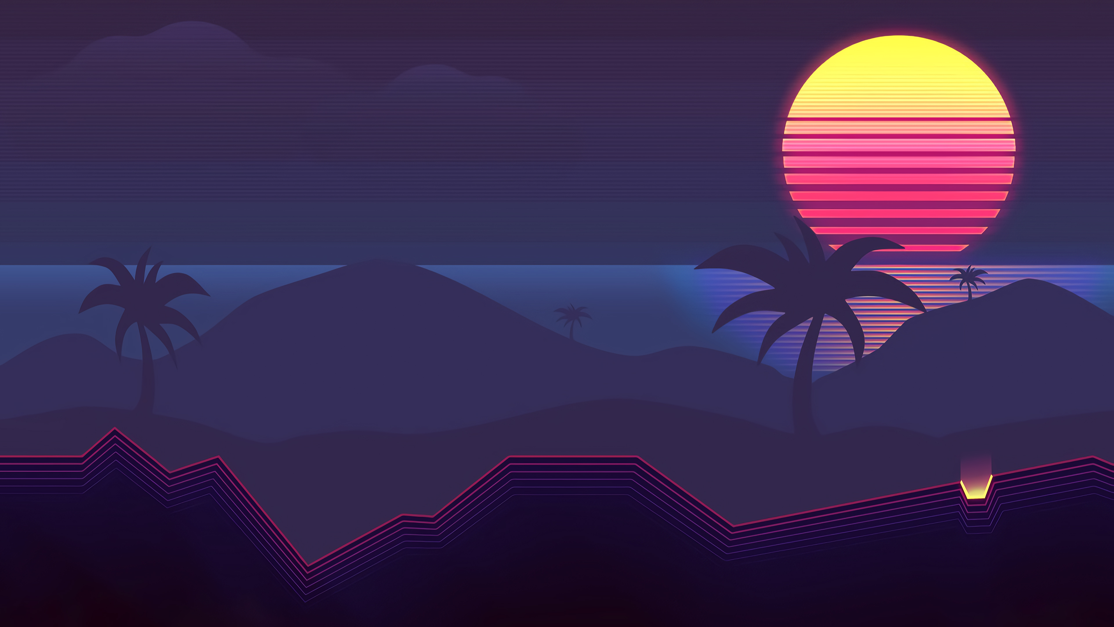 General 3840x2160 digital digital art artwork landscape Sun sun rays sunset dusk dark evening water sea relfection trees palm trees neon neon lights mountains minimalism vaporwave Retrowave synthwave 1980s 80s