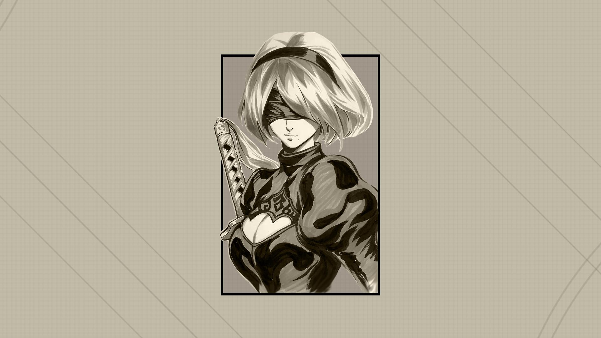 Anime 1920x1080 Nier: Automata 2B (Nier: Automata) render in shapes