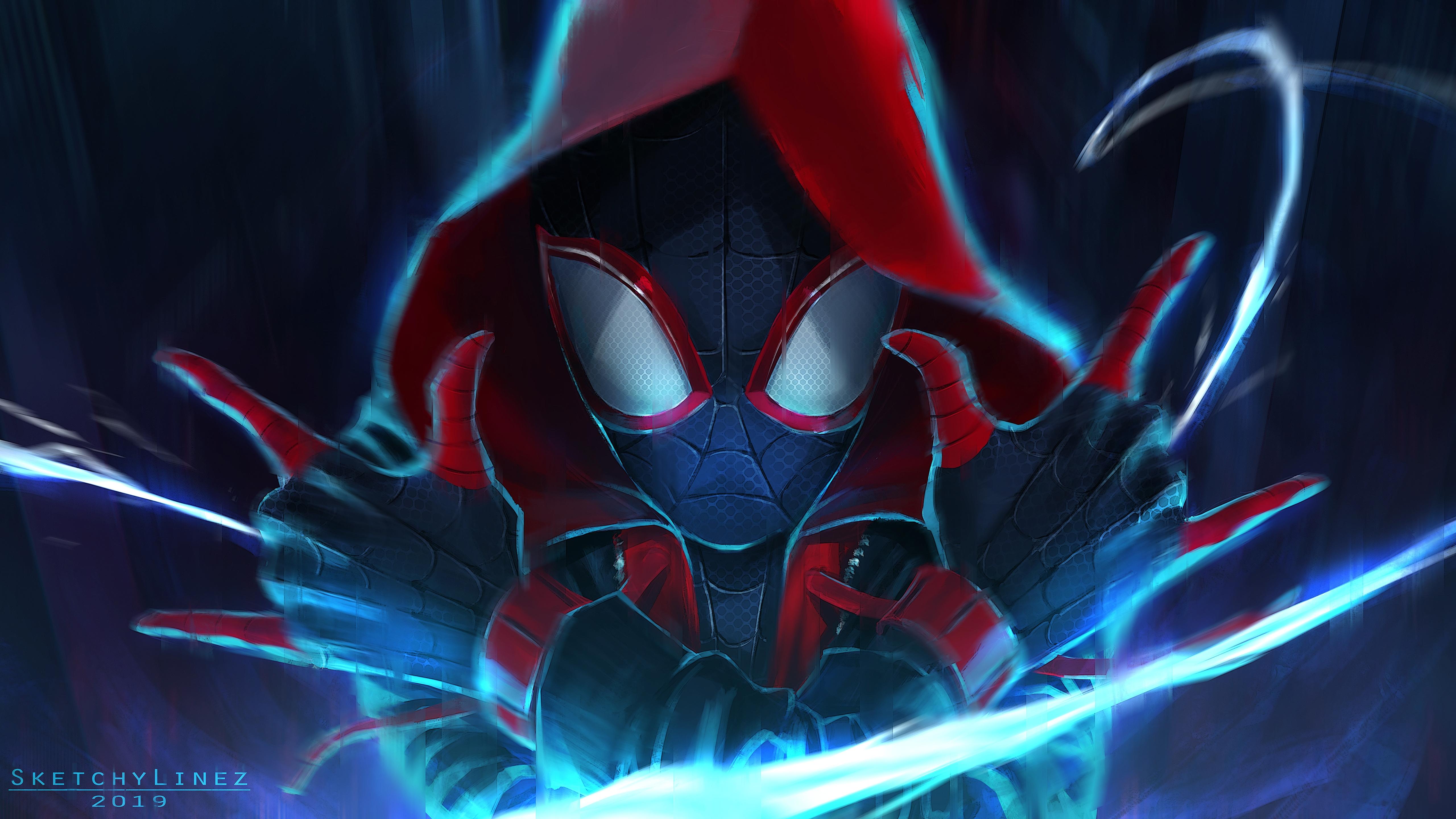 General 5120x2880 Spider-Man Spider-Man: Into the Spider-Verse artwork digital art Marvel Comics fan art hood hoods cyan frontal view