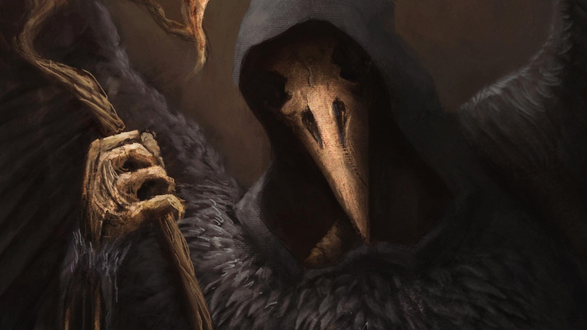 General 1920x1080 fantasy art digital art artwork face Grim Reaper skull wings hoods raven Marcin Tyrakowski plague doctors