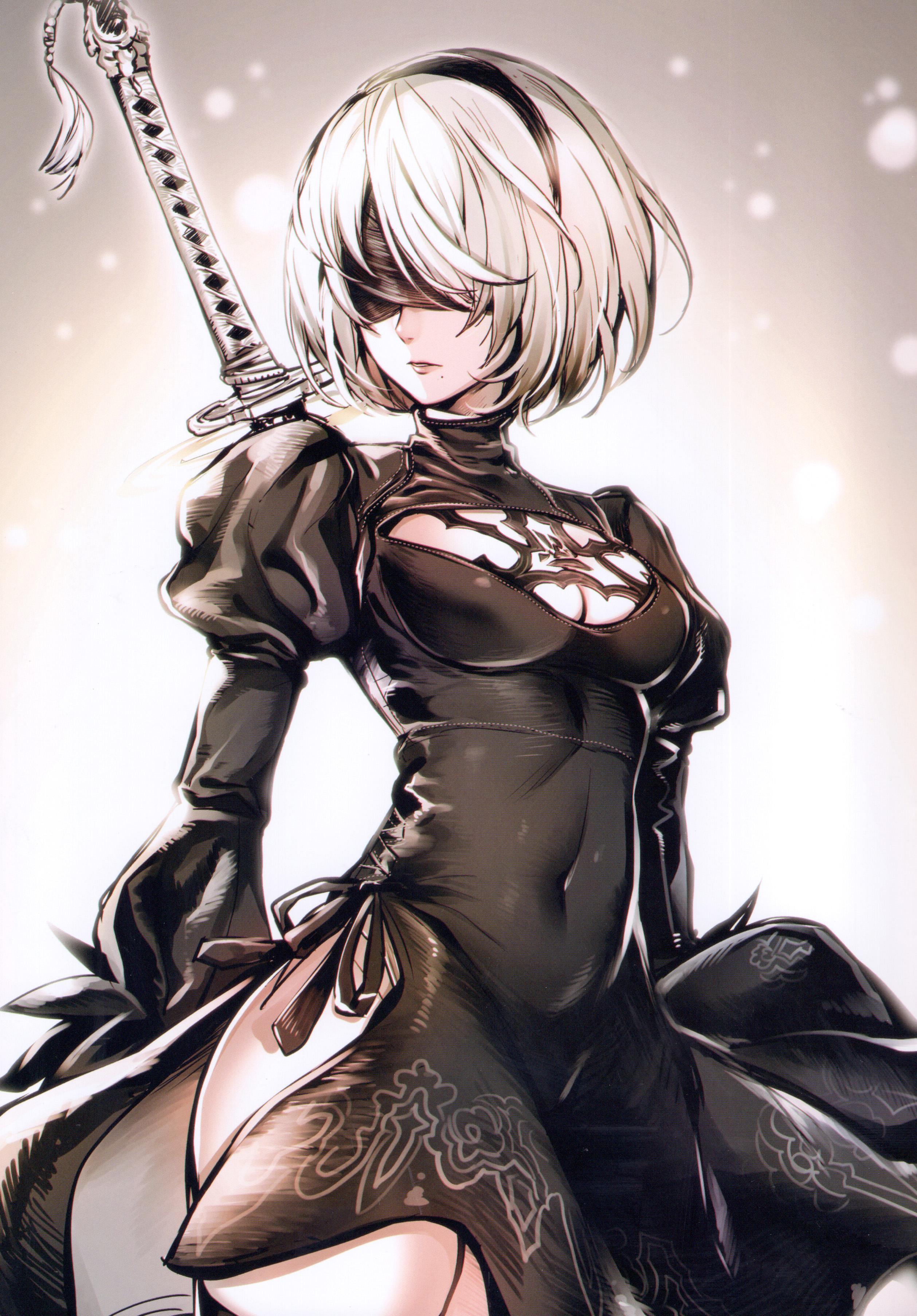 Anime 2517x3613 portrait display drawing Nier: Automata NieR Yorha unit no.2 type b Cut (artist) blindfold short hair white hair dress sword