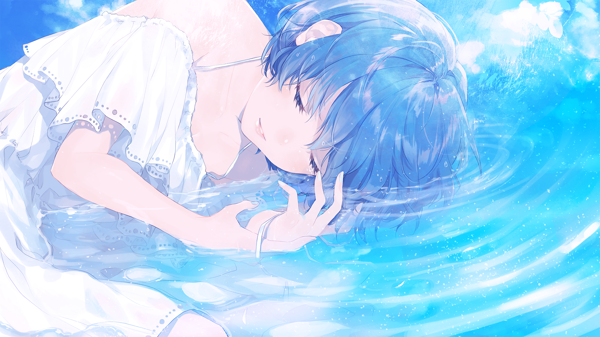 Anime 1920x1080 anime anime girls blue hair short hair in water closed eyes clouds blue nails ribbons waves Sudach Koppe