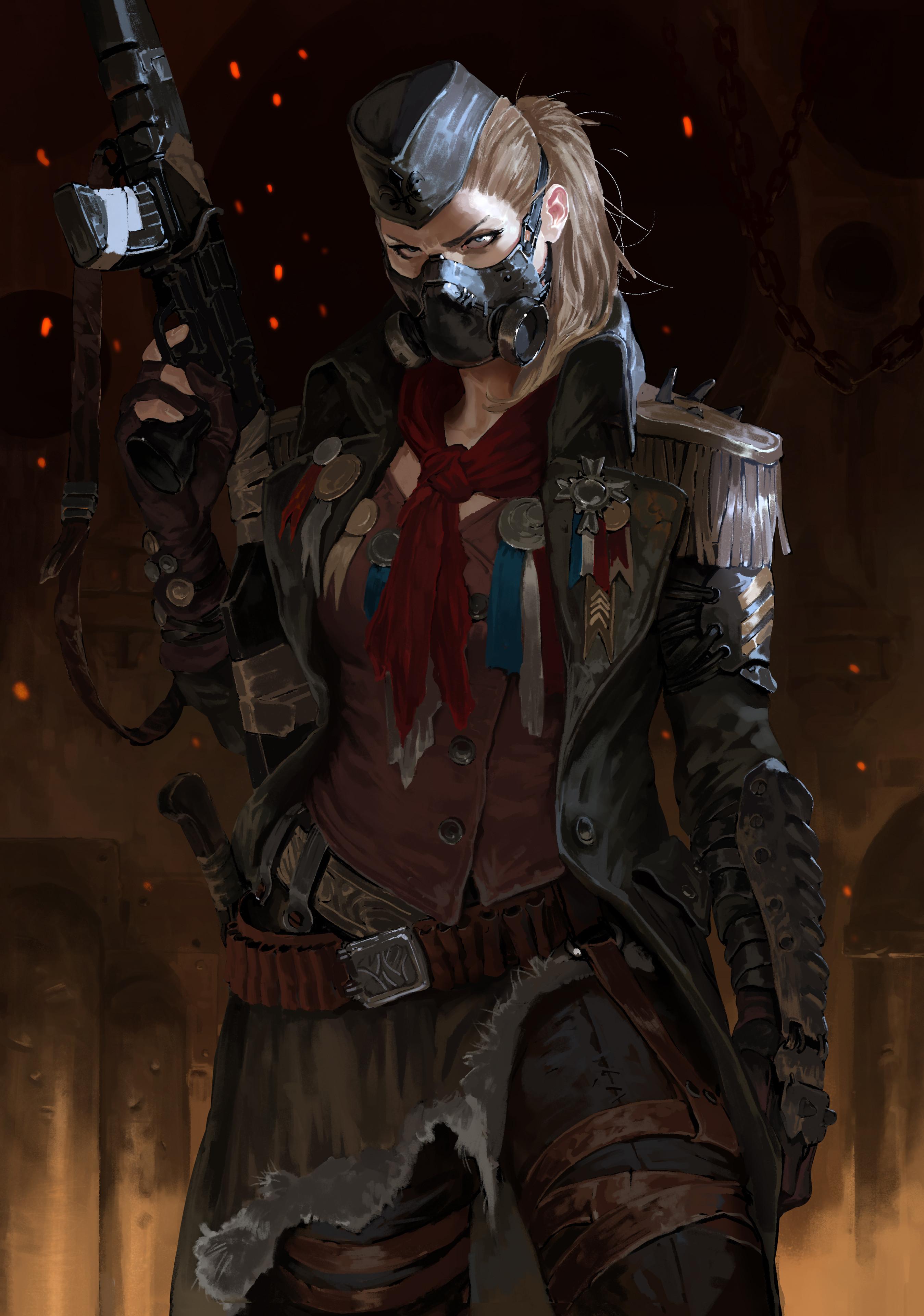 General 2698x3840 blonde mask gun assault rifle women portrait display sparks digital art digital painting fan art artwork