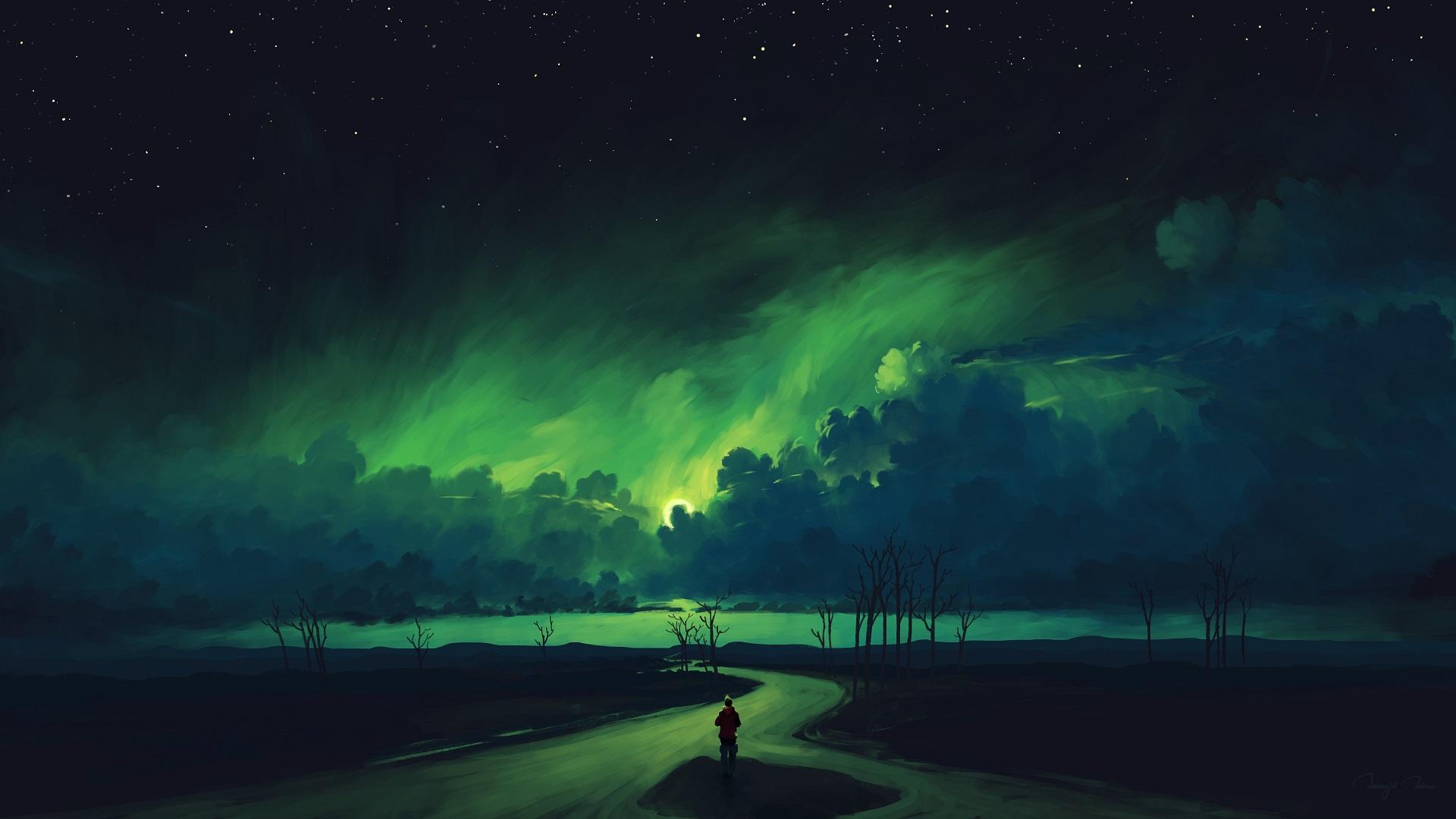 General 1920x1080 digital painting landscape sky night clouds aurorae BisBiswas