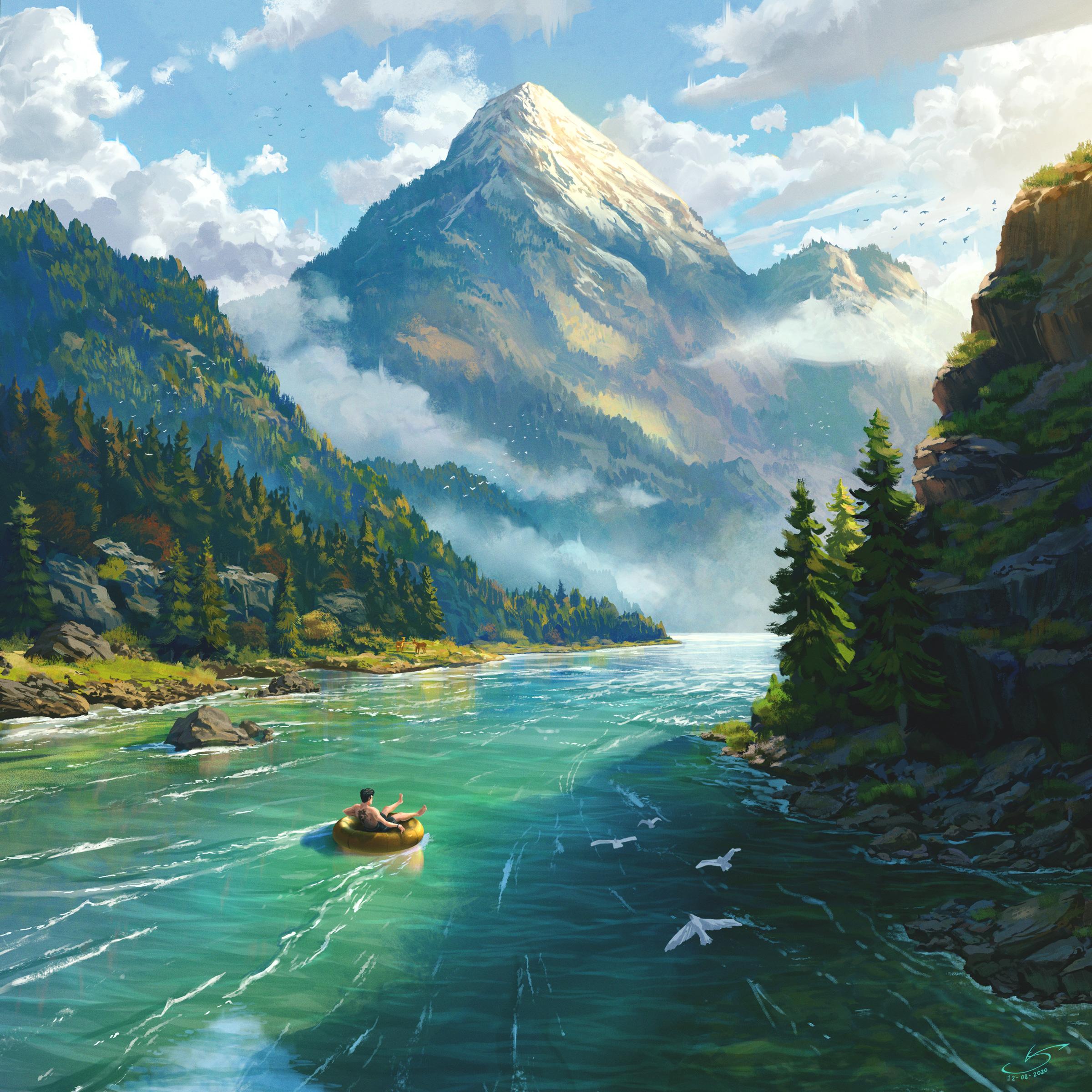 General 2400x2400 digital art landscape river mountains