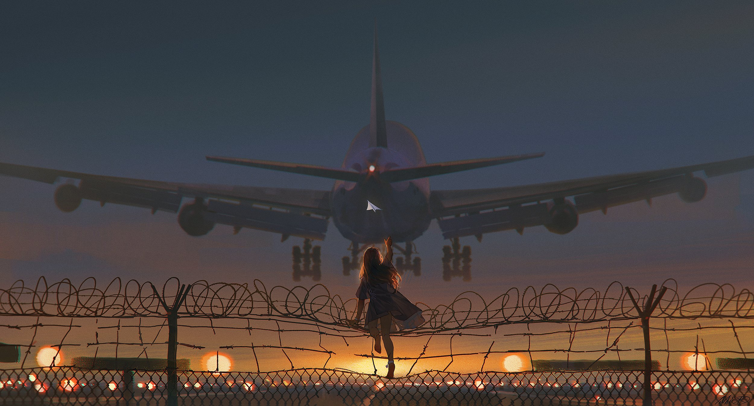 Anime 2500x1346 anime girls original characters aircraft Alzi米 ALZi Xiaomi passenger aircraft vehicle fence paper planes anime