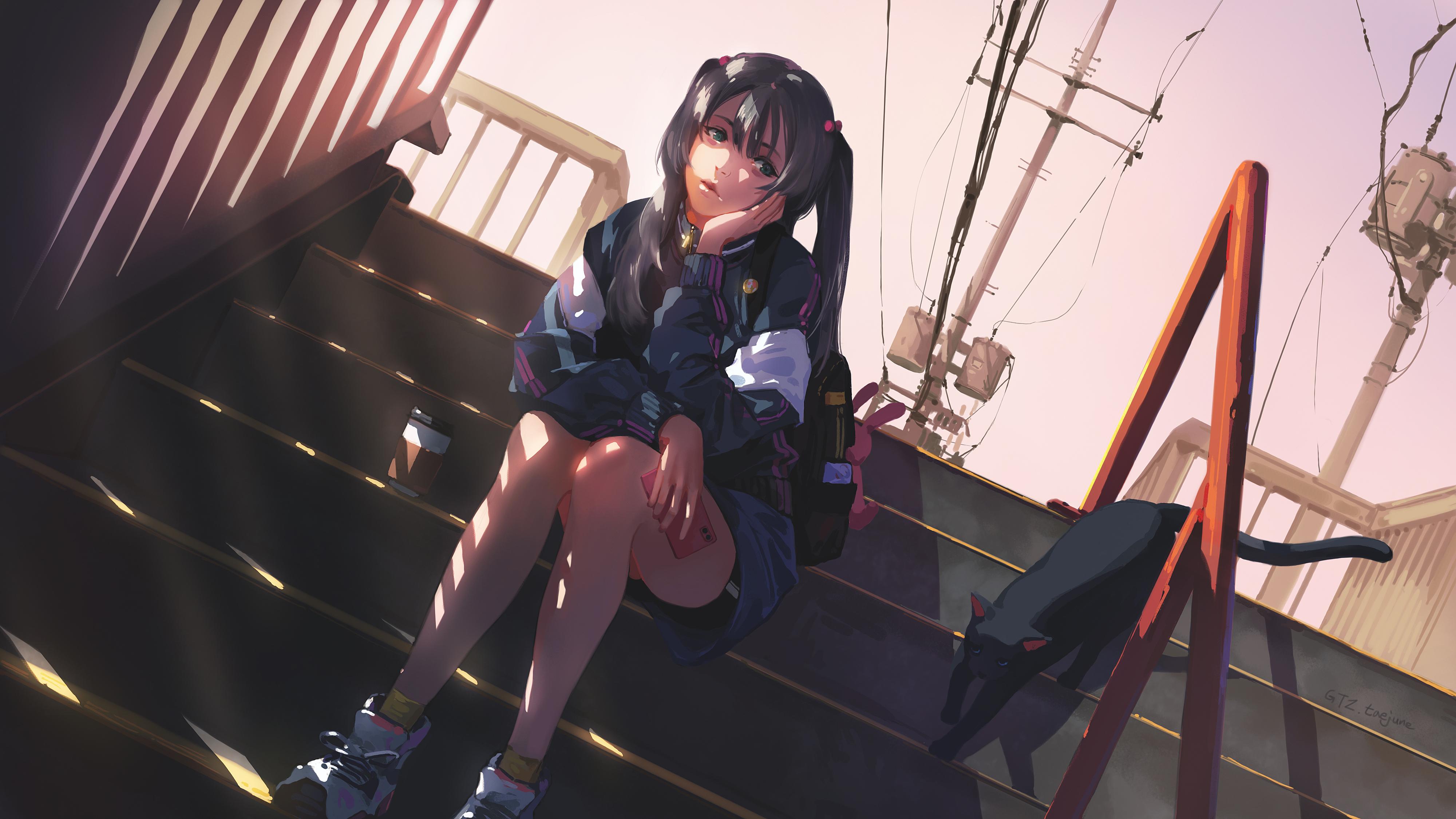 Anime 4000x2250 anime girls thighs dark hair stairs GTZ taejune Taejune Kim