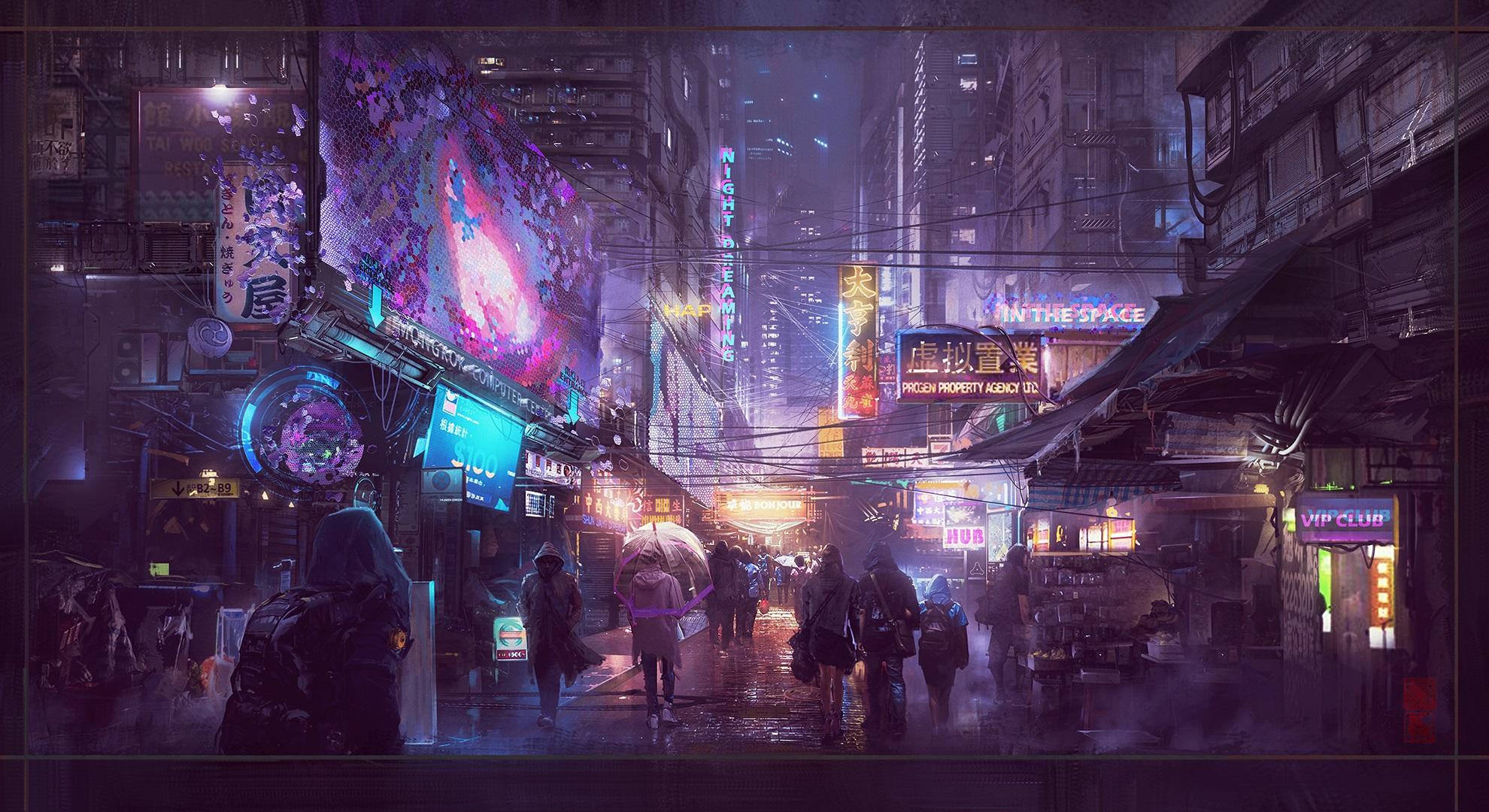 General 1980x1080 cyberpunk neon Donglu Yu rain