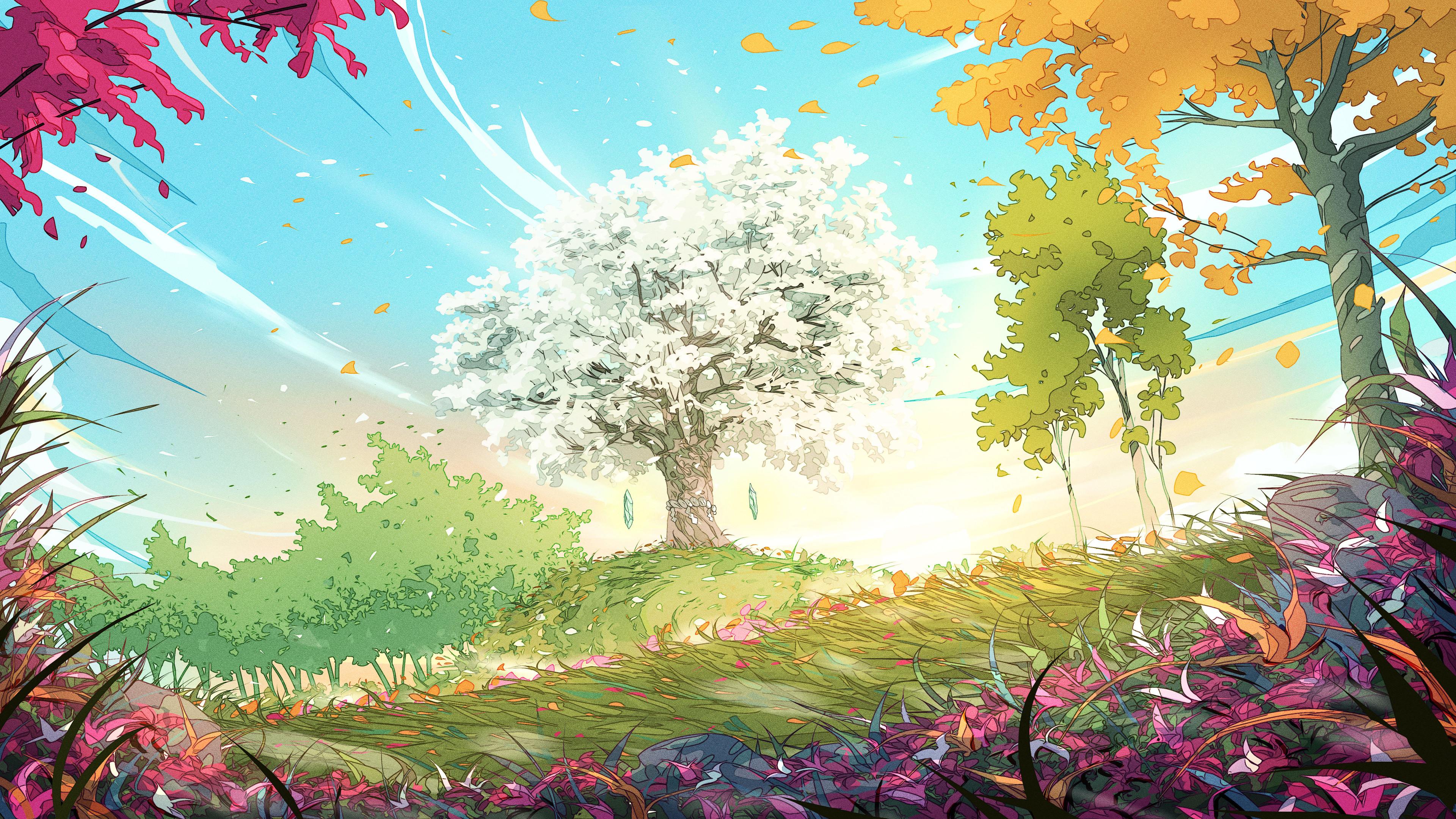 General 3840x2160 colorful trees spring leaves wind grass Christian Benavides digital art crystal  fantasy art windy