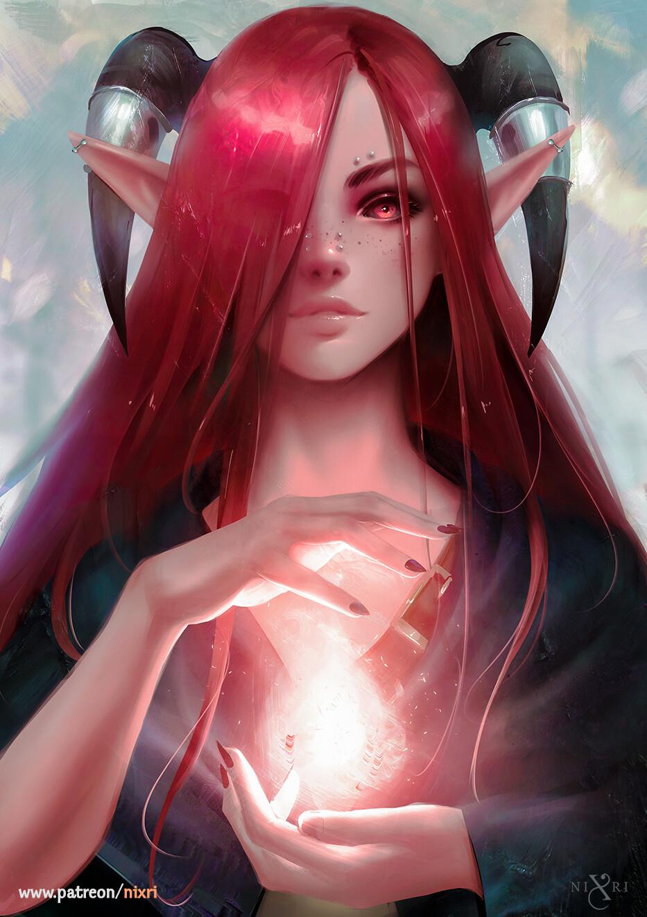 General 933x1323 Nixri women demon girls elf ears demon eyes redhead red eyes piercing freckles magic artwork fan art digital art